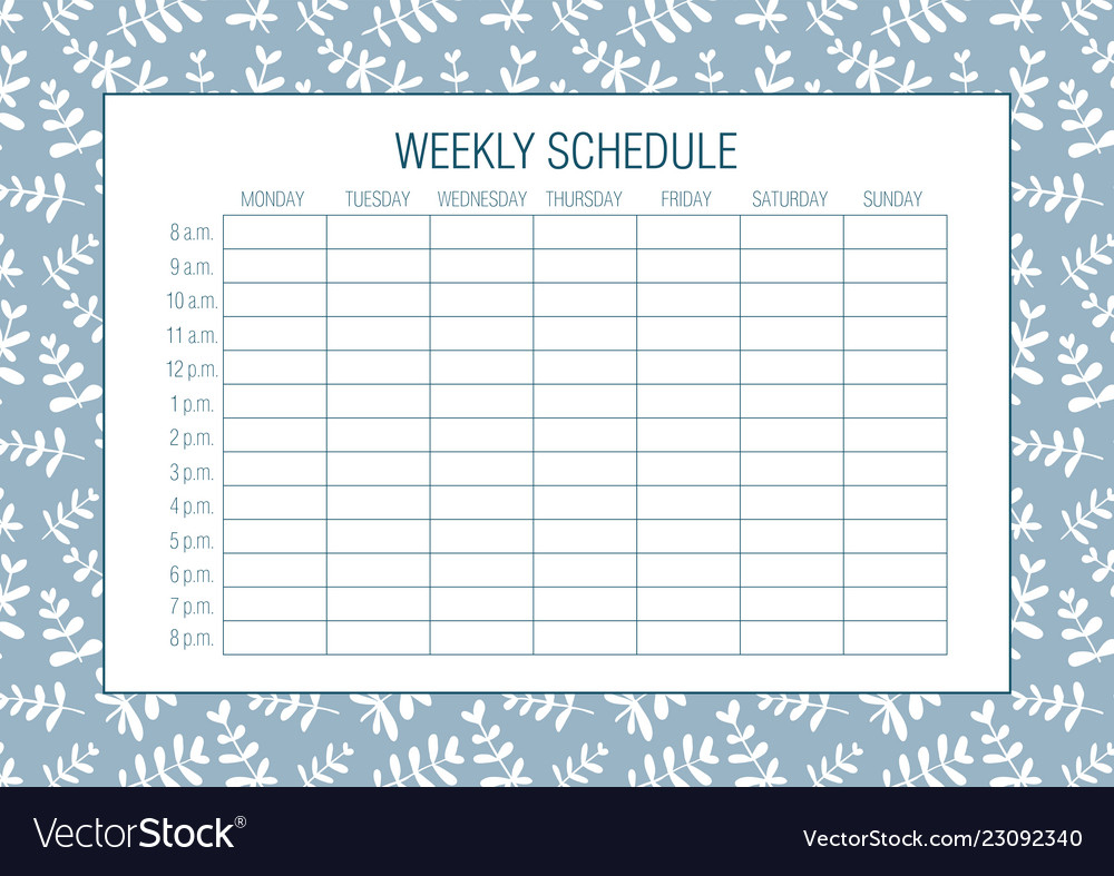 Weekly Schedule Planer Template with Free Weekly Schedule