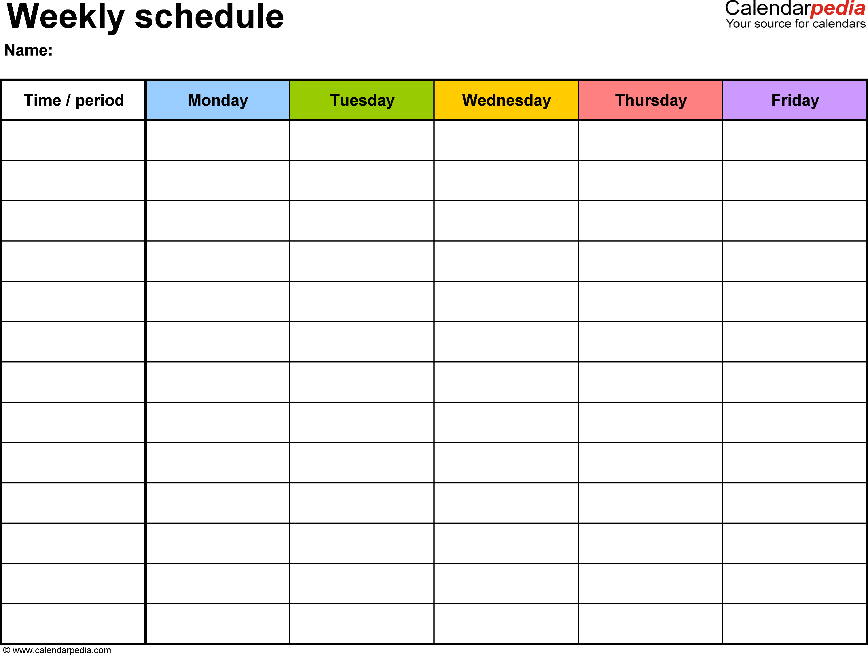 Weekly Schedule Template For Word Version 1: Landscape, 1 for Monday Through Friday Calendar Template