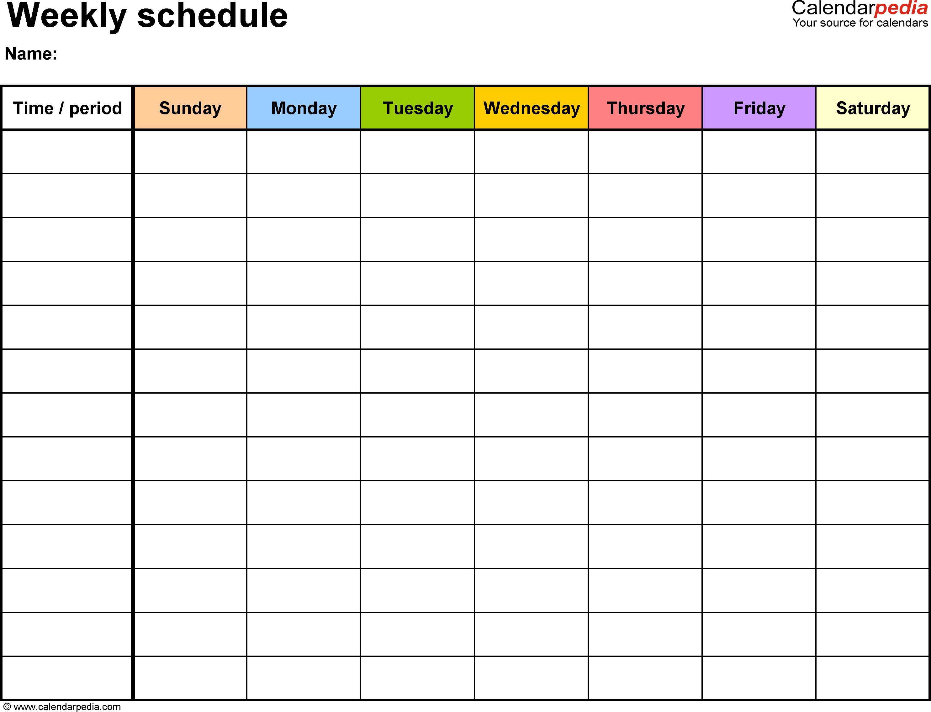 Weekly Schedule Template For Word Version 13: Landscape, 1 with Sunday Through Saturday Schedule Template