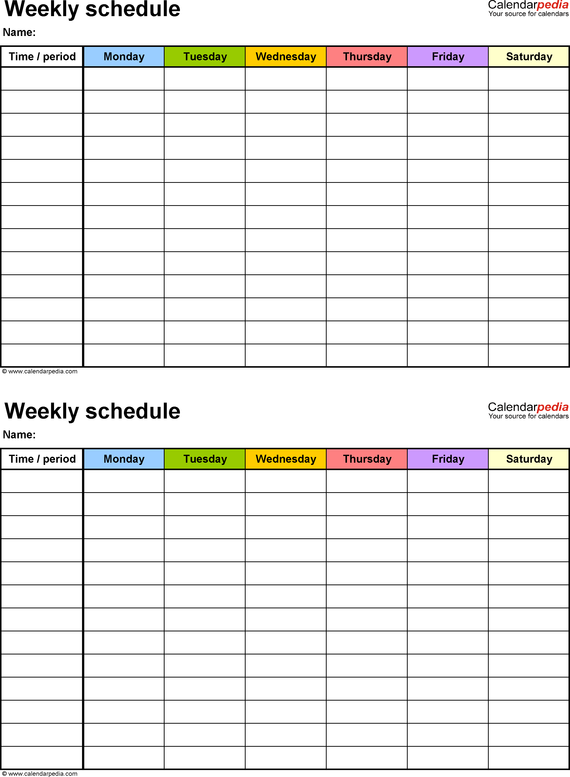 Weekly Schedule Template For Word Version 9: 2 Schedules On intended for Two Week Calendar Template Excel