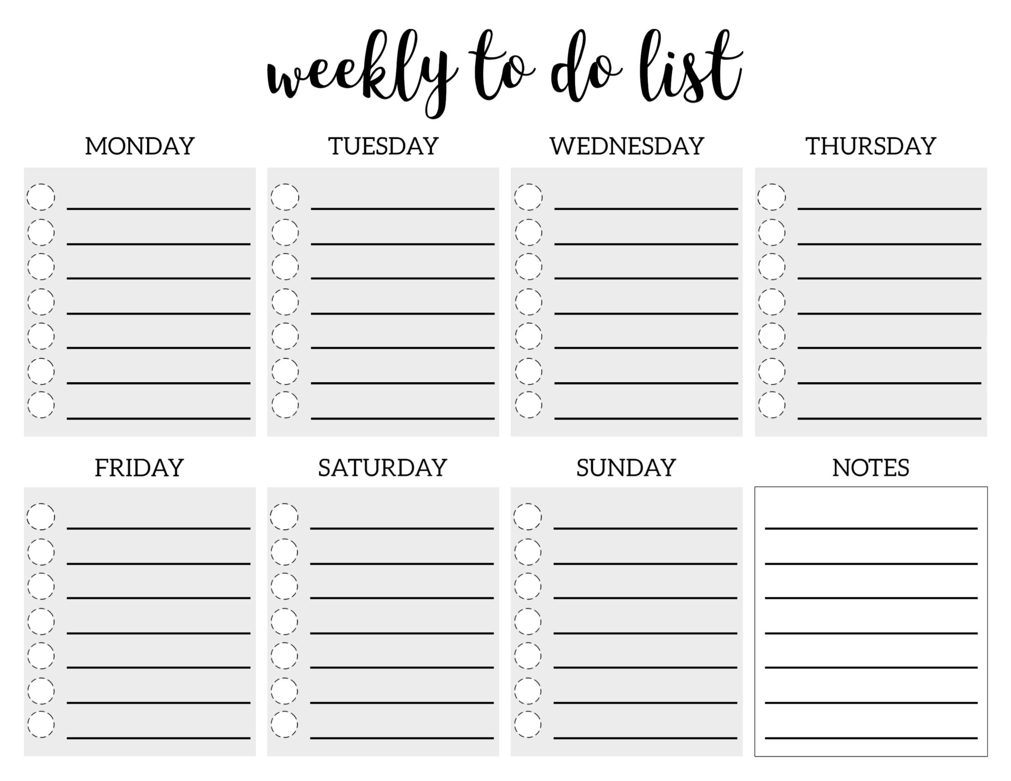 Weekly To Do List Printable Checklist Template  Paper Trail with regard to Printable Blank Checklist