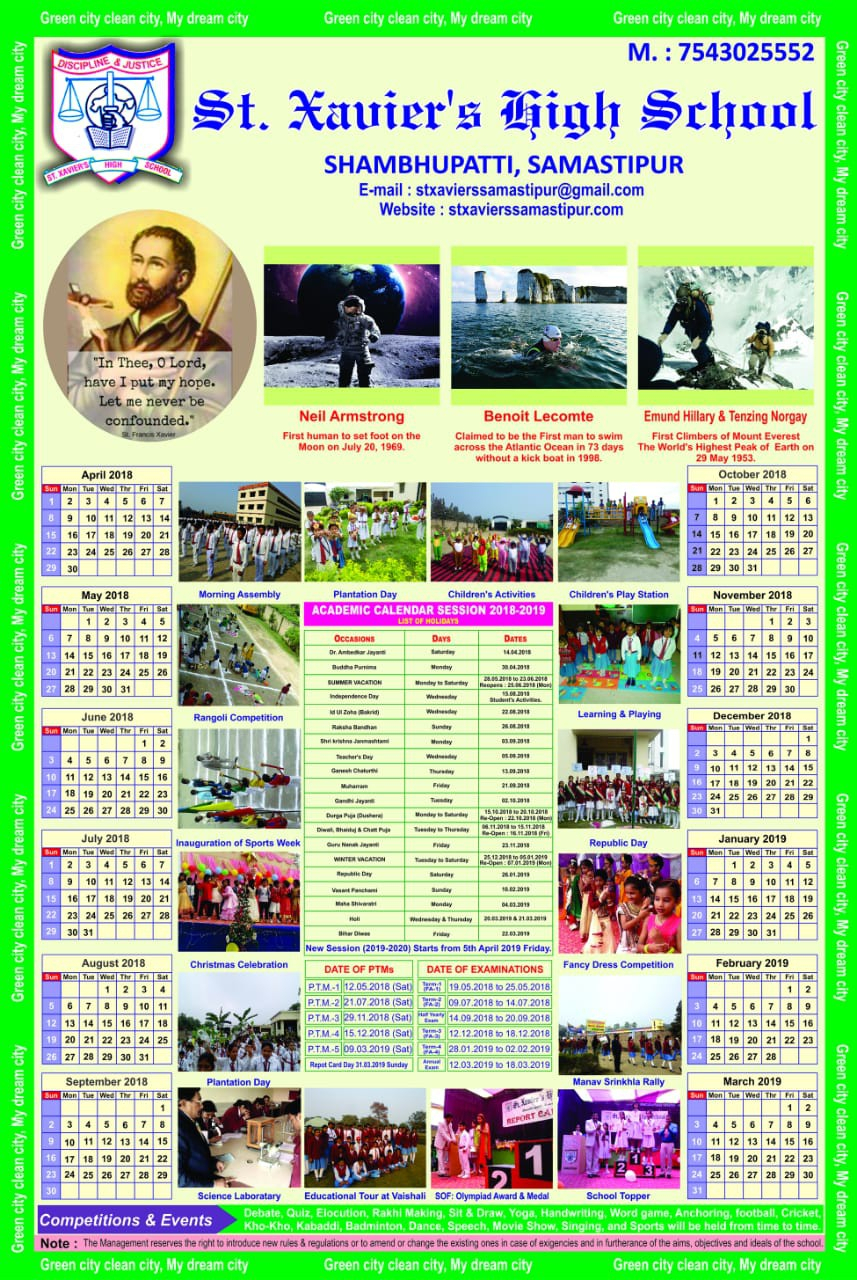 Welcome To St. Xavier's High School | Shambhupati inside Xavier Academic Calendar