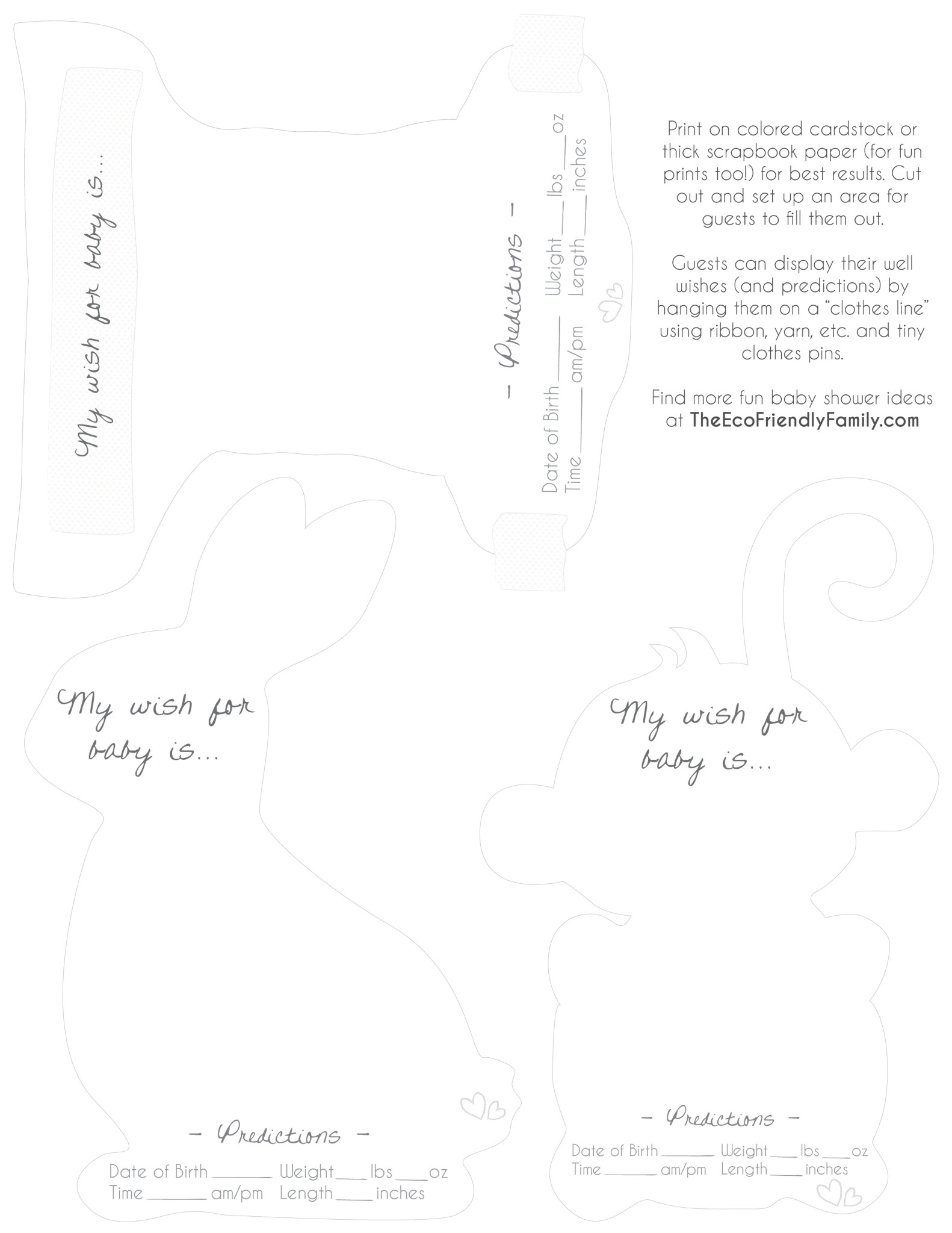 Well Wishes & Predictions For Baby { Free Printable }  The pertaining to Baby Prediction Template