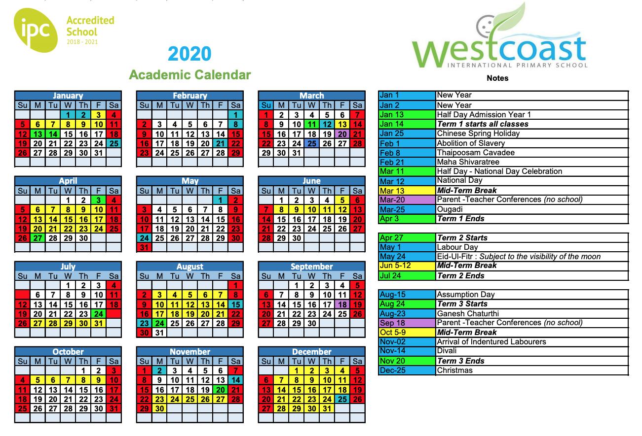 Westcoast International Primary School regarding Mauritius School Calendar 2020