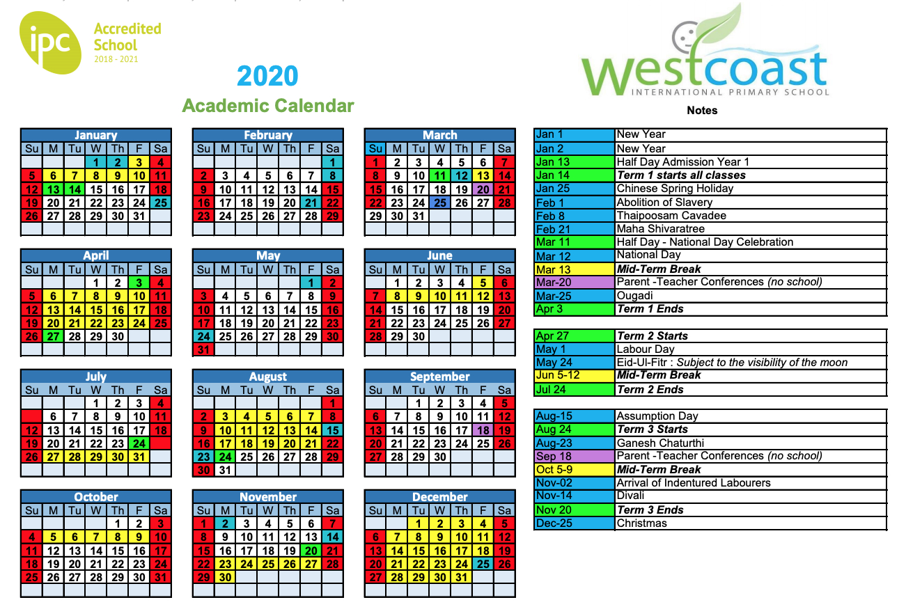 Westcoast International Primary School within School Calendar 2020 Mauritius