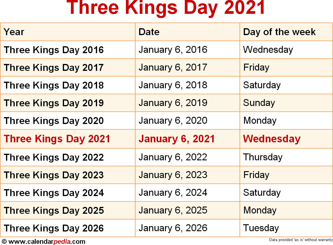 When Is Three Kings Day 2021? intended for Three Kings Day 2021