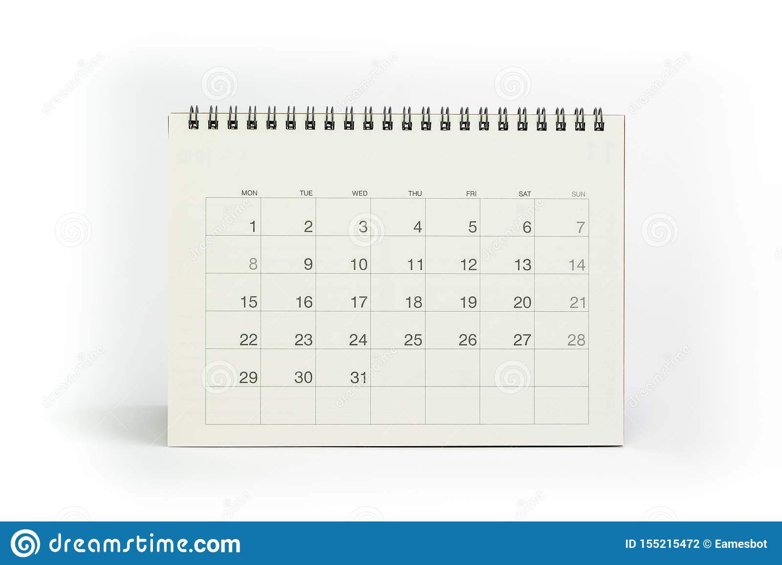 White Clean Desktop Calendar Isolated On White Background for Desktop Calendar Reminder Free Full Version