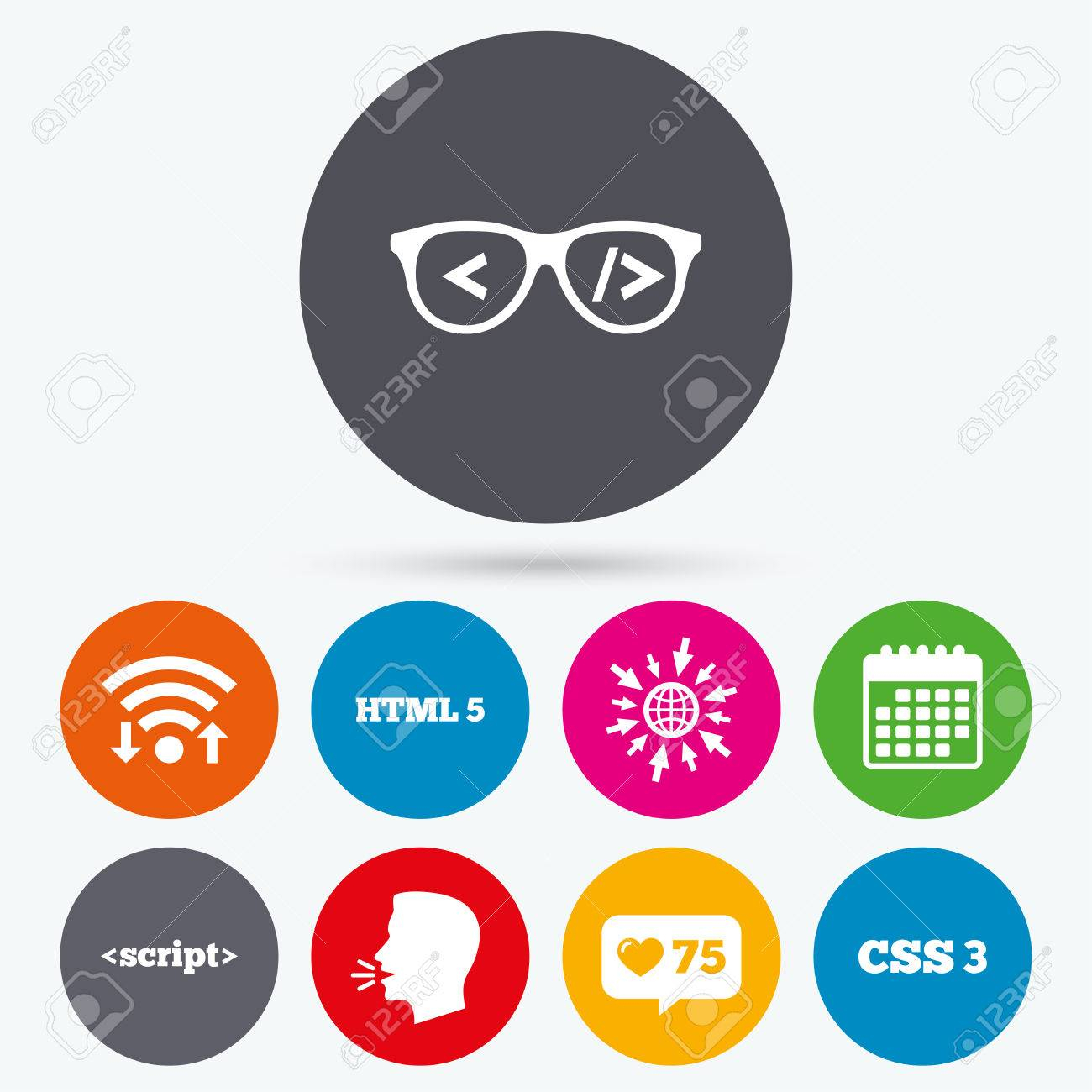 Wifi, Like Counter And Calendar Icons. Programmer Coder Glasses.. intended for Css Calendar Icon