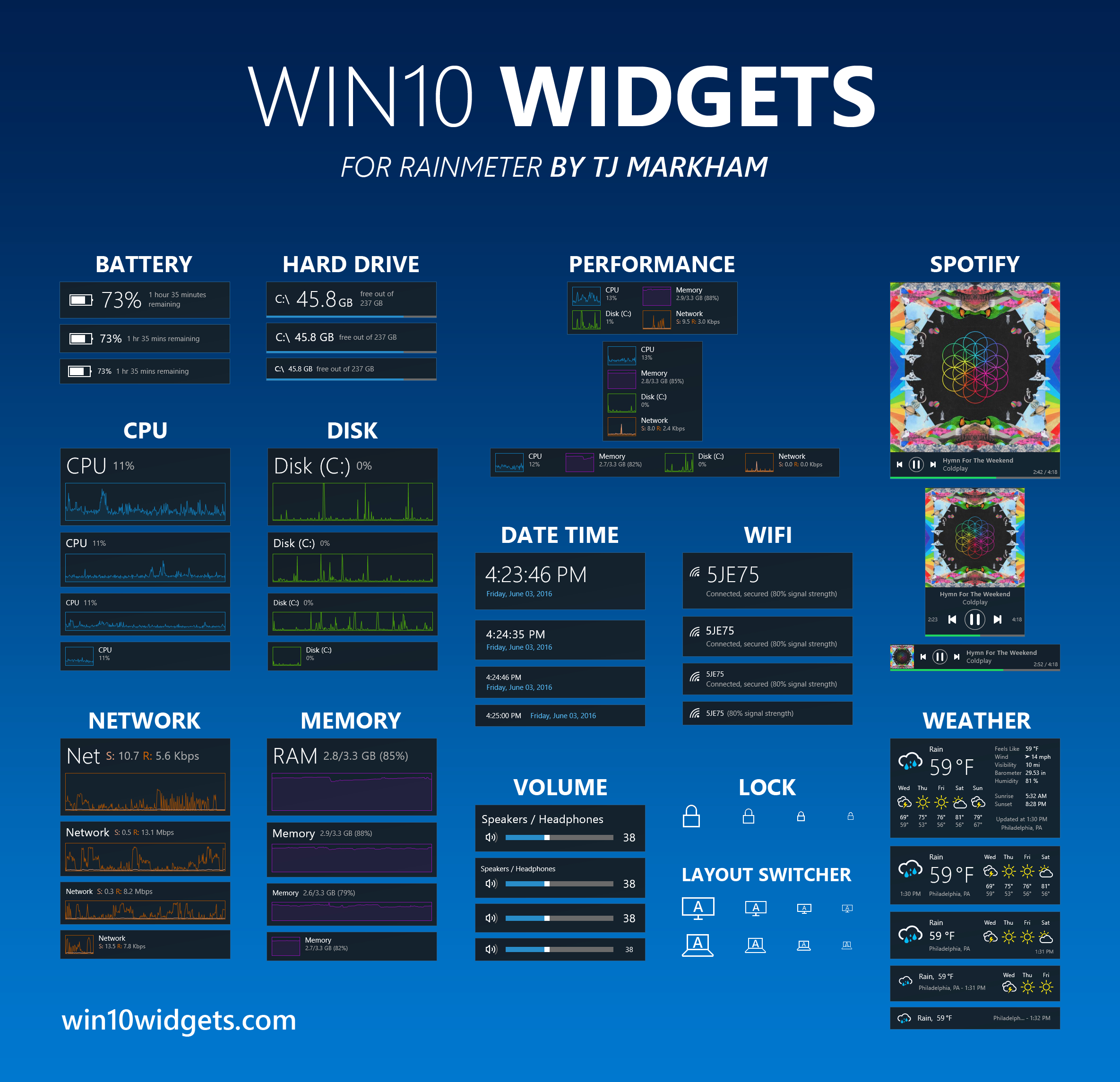 Win10 Widgets  Widgets For Windows 10 inside Calendar Gadget Windows 10