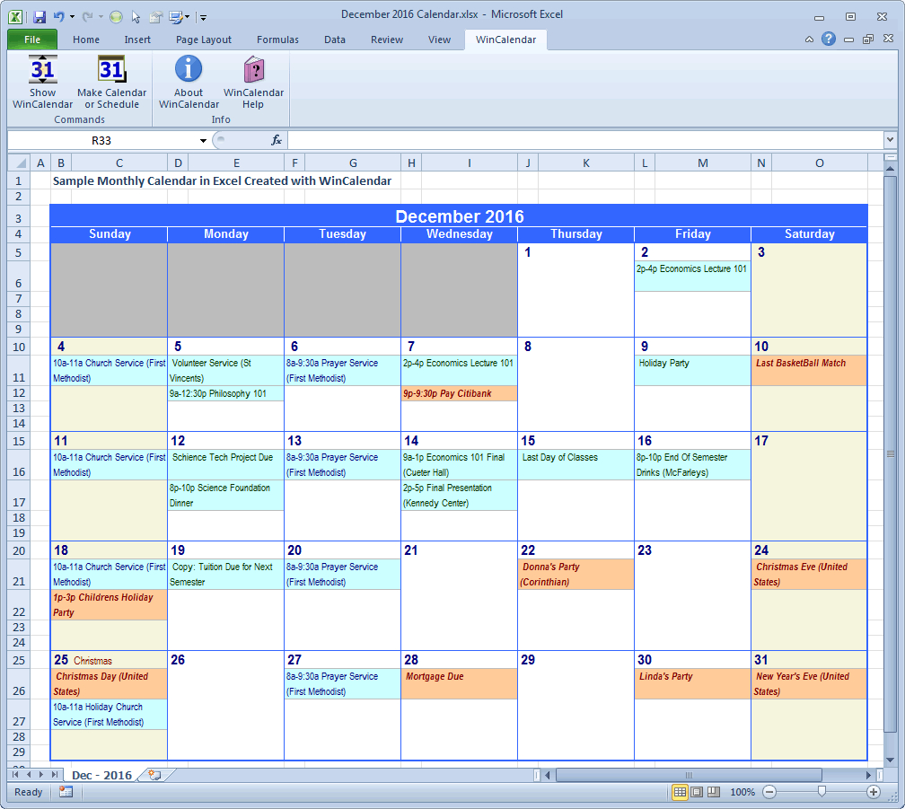 Wincalendar: Excel Calendar Creator With Holidays in Calendar Creator For Windows 10