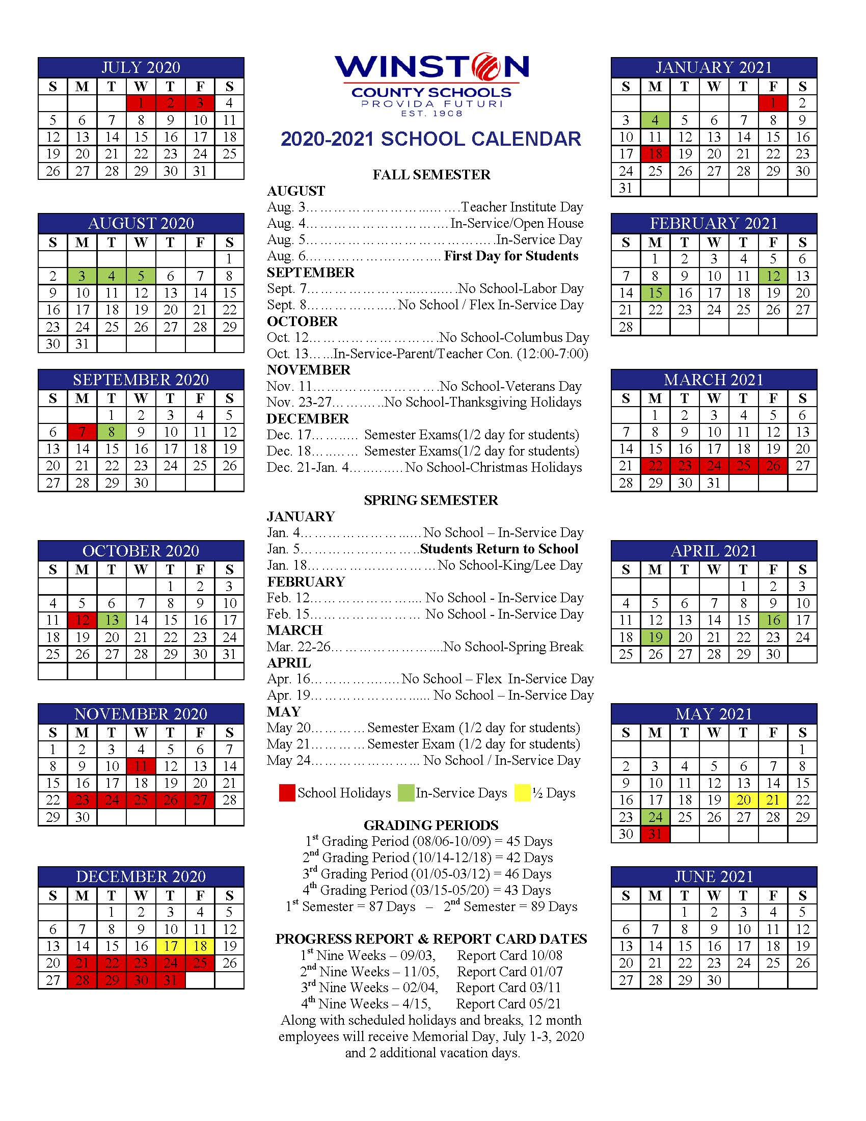 Winston County Schools Calendar, 20202021 | Northwest Alabamian intended for Broadcast Calendar 2021