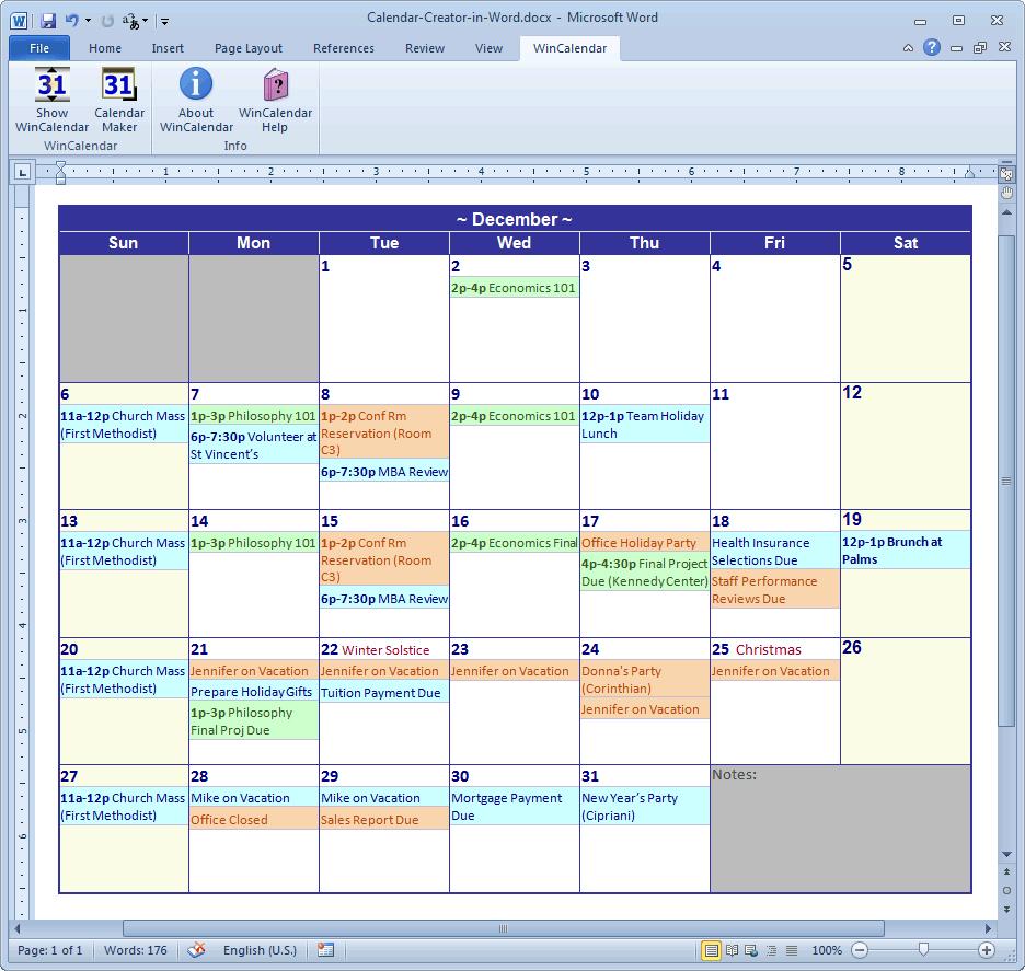 Word Calendar Maker  Bolan.horizonconsulting.co inside Calendar Creator Excel