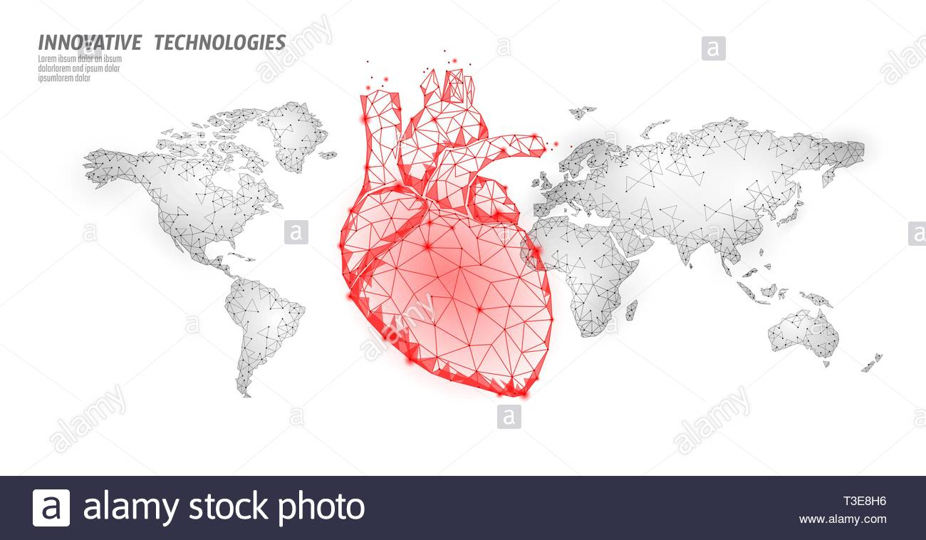 World Heart Attack Day Awareness. Health Medicine Poster for Heart Map Template