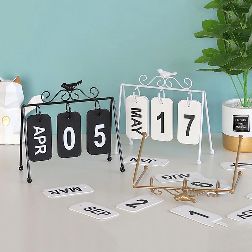 Wrought Iron Bird Calendar Creative Study Desk Jewelry Ornaments regarding Wrought Iron Calendar Holder