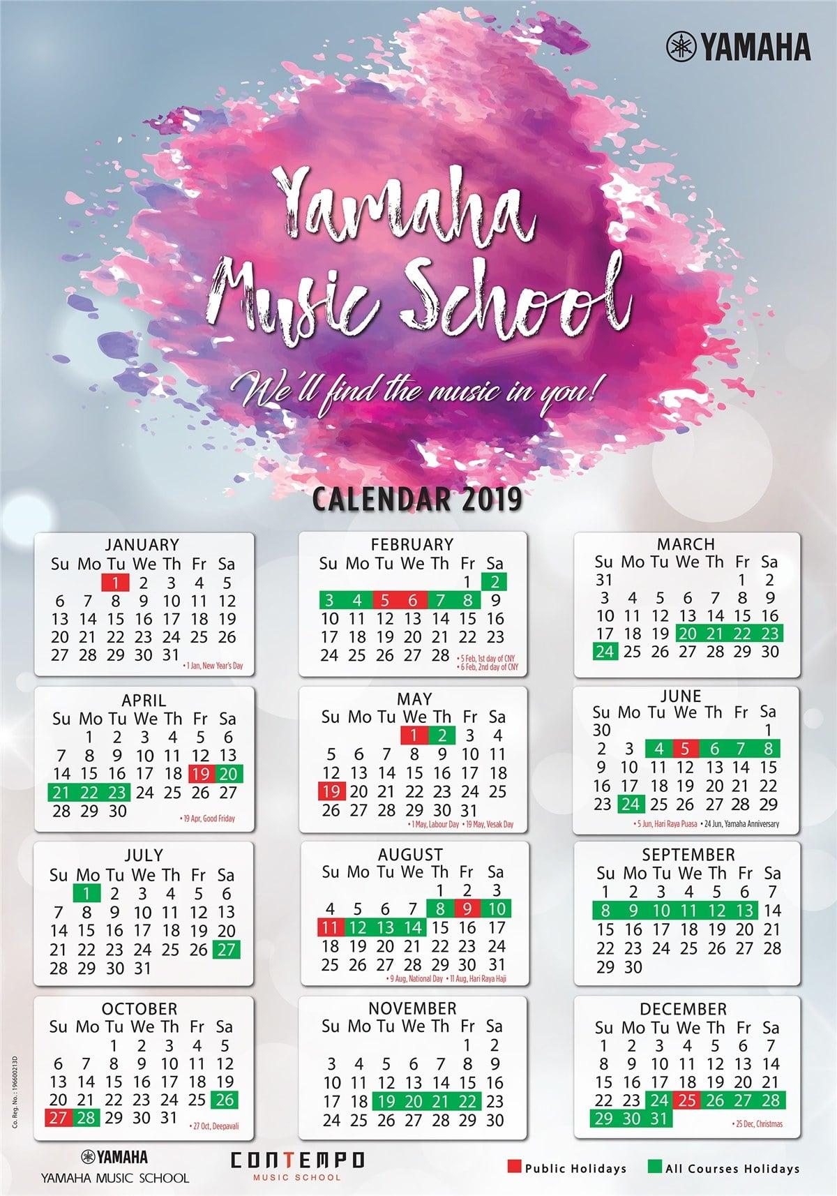 Yamaha Course Calendar 2019  Yamaha  Singapore regarding Yamaha Calendar 2020 Singapore
