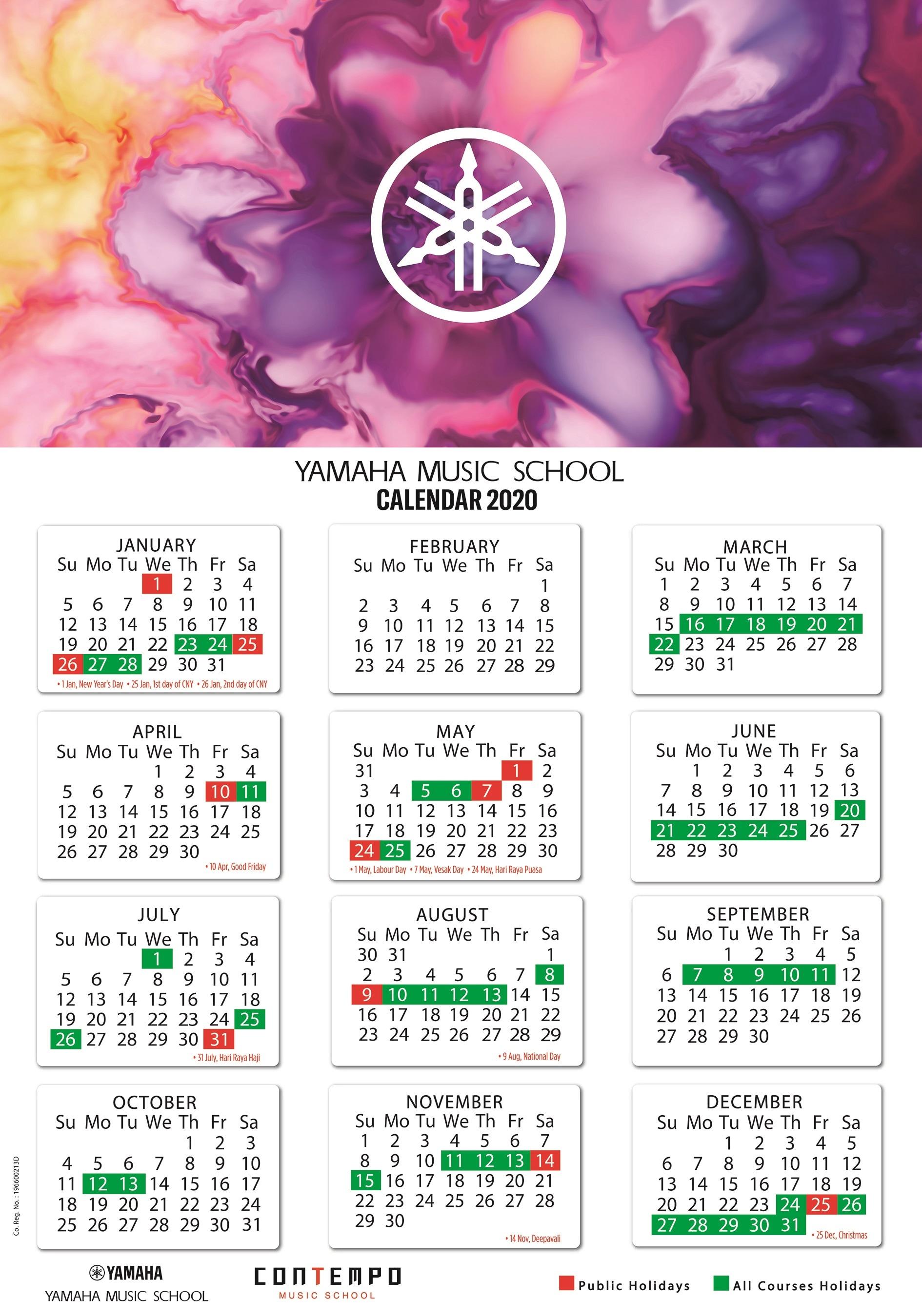 Yamaha Course Calendar 2020  Yamaha  Singapore throughout Yamaha Calendar 2020 Singapore