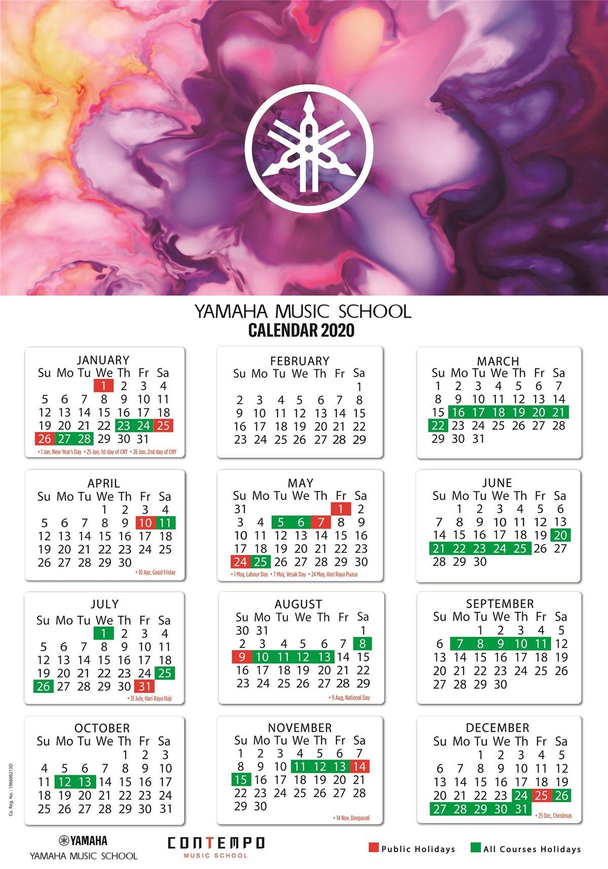 Yamaha Course Calendar 2020  Yamaha  Singapore within Yamaha Calendar 2020 Singapore