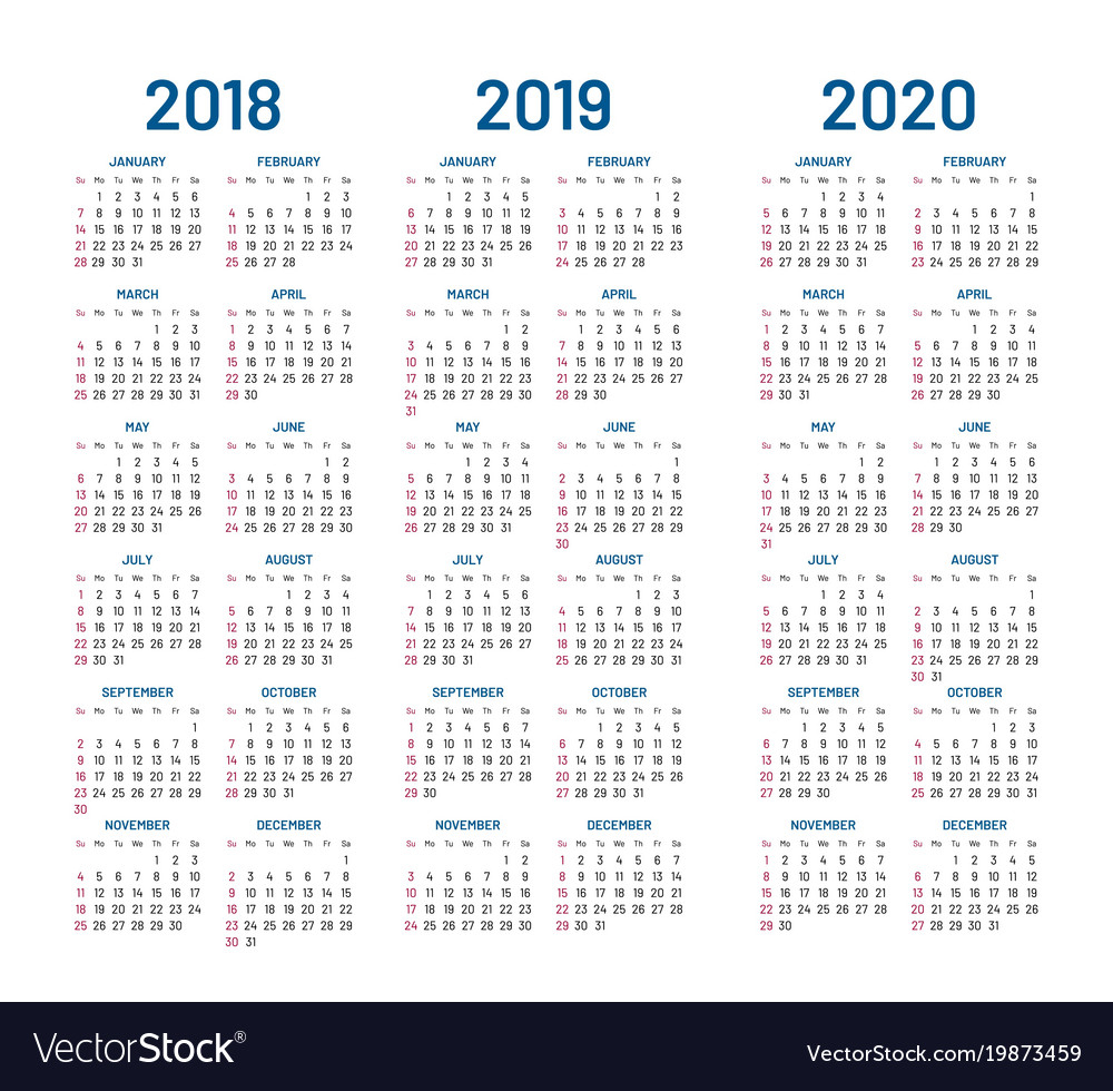 Year 2018 2019 2020 Calendar throughout 2020 Calendar Vector Free