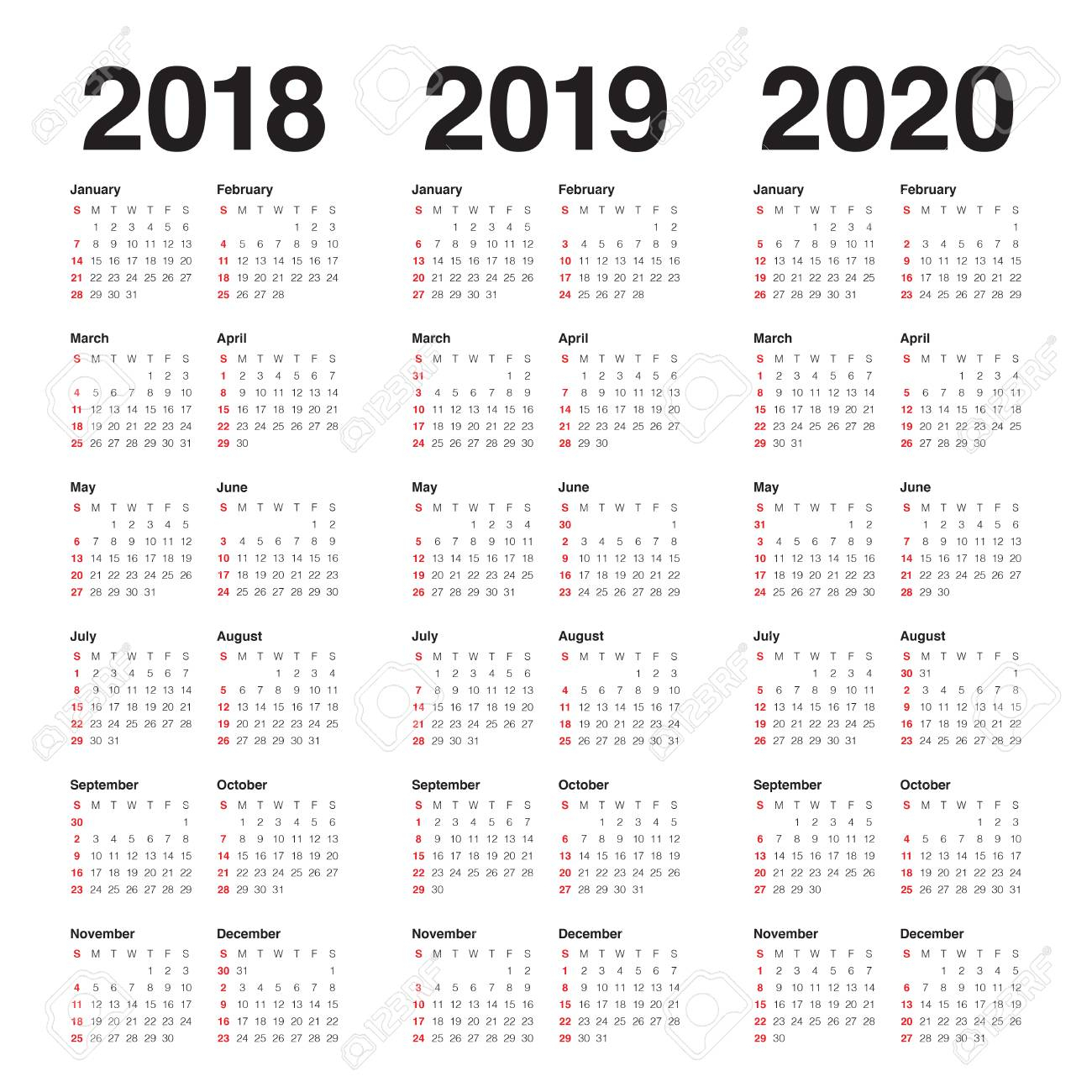 Year 2018 2019 2020 Calendar Vector Design Template, Simple And.. for 2020 Calendar Vector Free