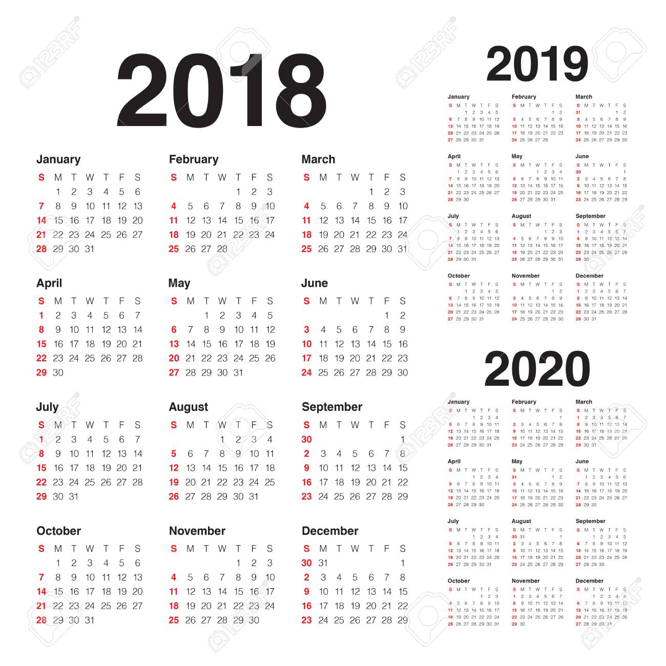 Year 2018 2019 2020 Calendar Vector Design Template, Simple And.. in 2020 Calendar Vector Free