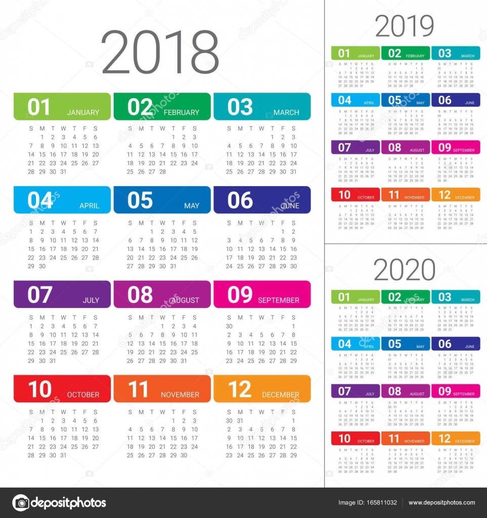 Year 2018 2019 2020 Calendar Vector — Stock Vector for Sep Calendario 2020