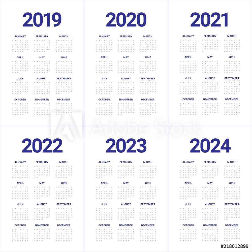 Year 2019 2020 2021 2022 2023 2024 Calendar Vector Design with Calendar 2020 Cu Zile Lucratoare