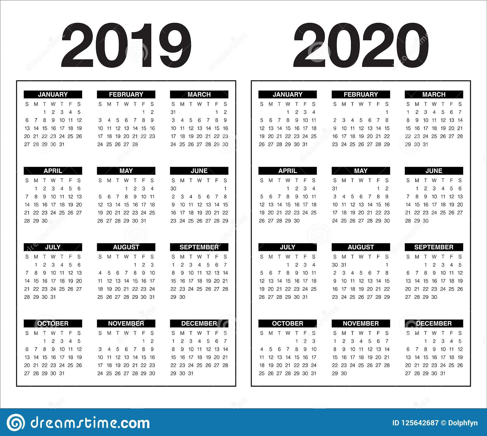 Year 2019 2020 Calendar Vector Design Template Stock Vector in 2020 Calendar Vector Free