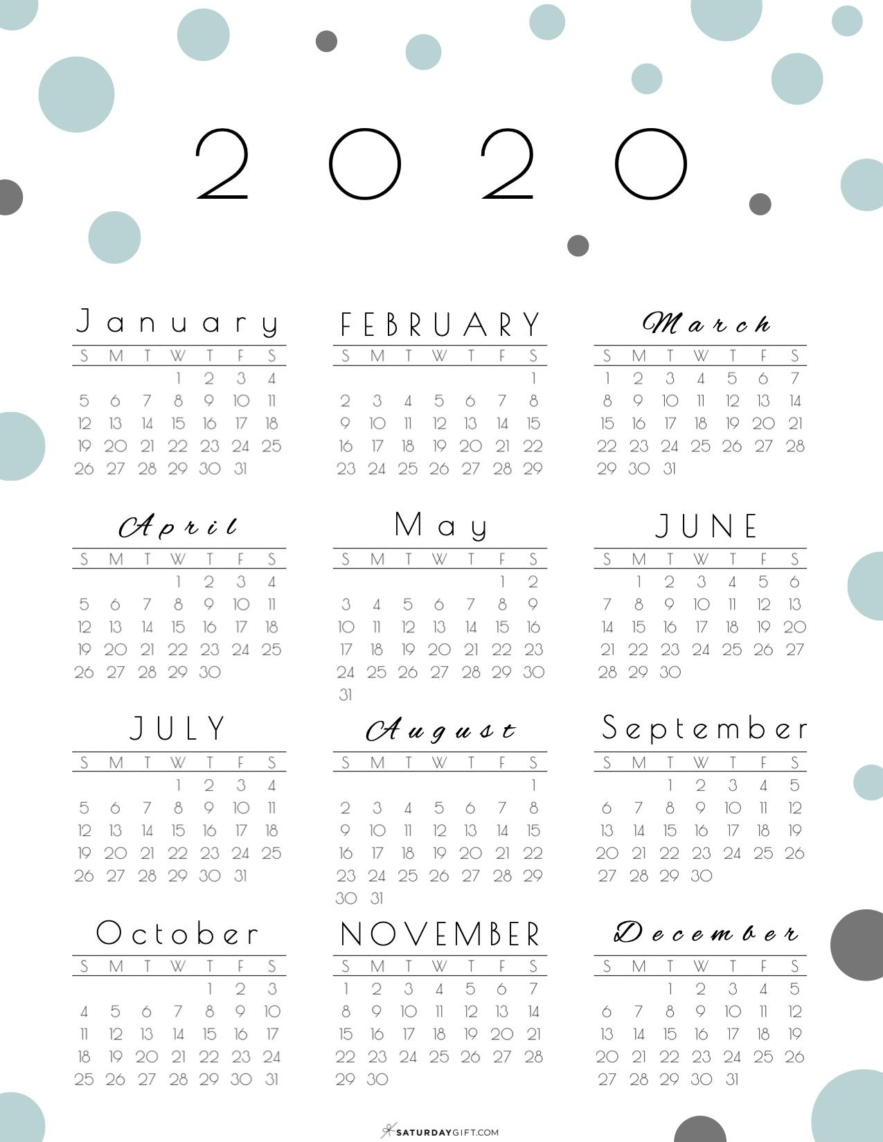 Year At A Glance Calendar 2020  Pretty (And Free regarding 2020 Year At A Glance Printable