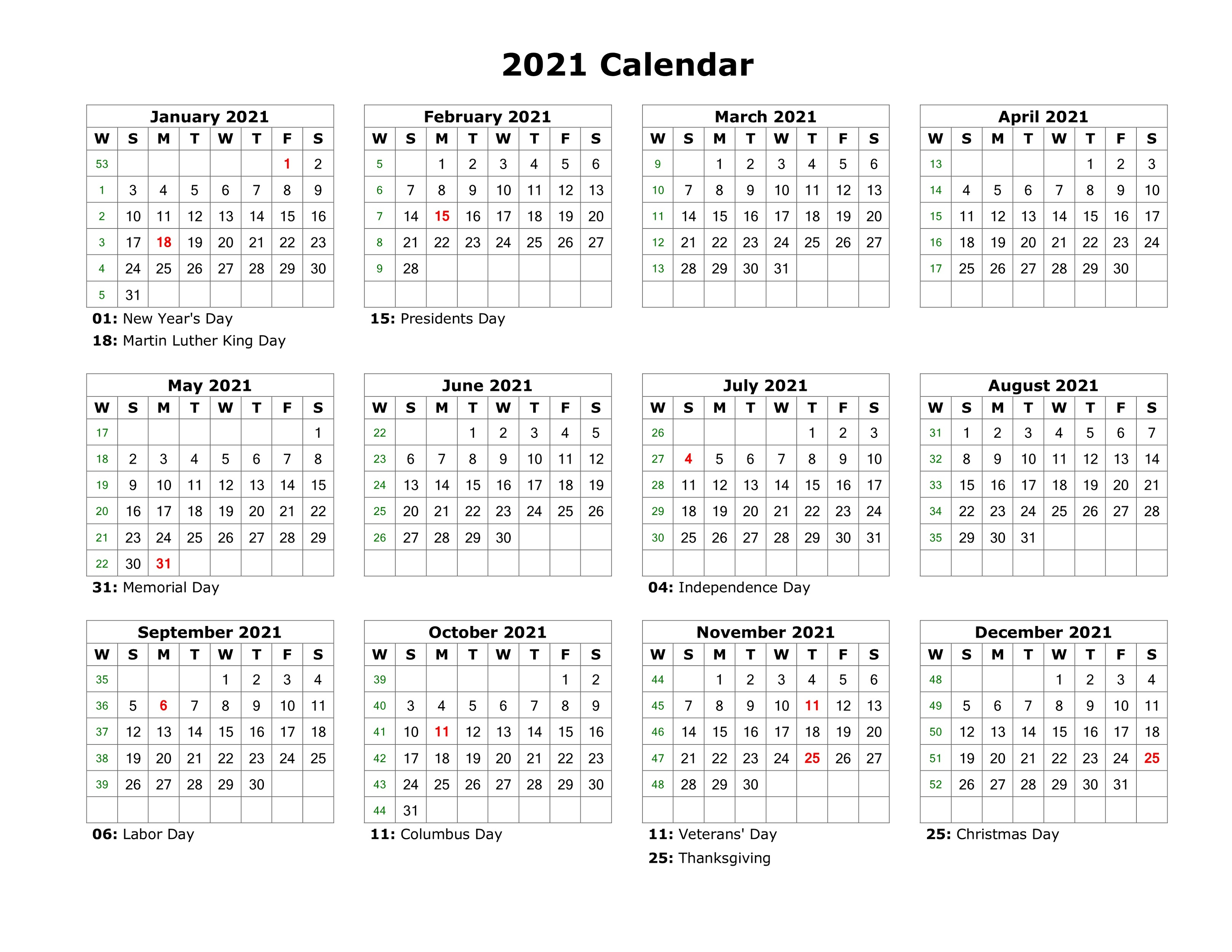 Year At A Glance Calendar 2021 Printable Free For inside Year At A Glance Calendar Printable