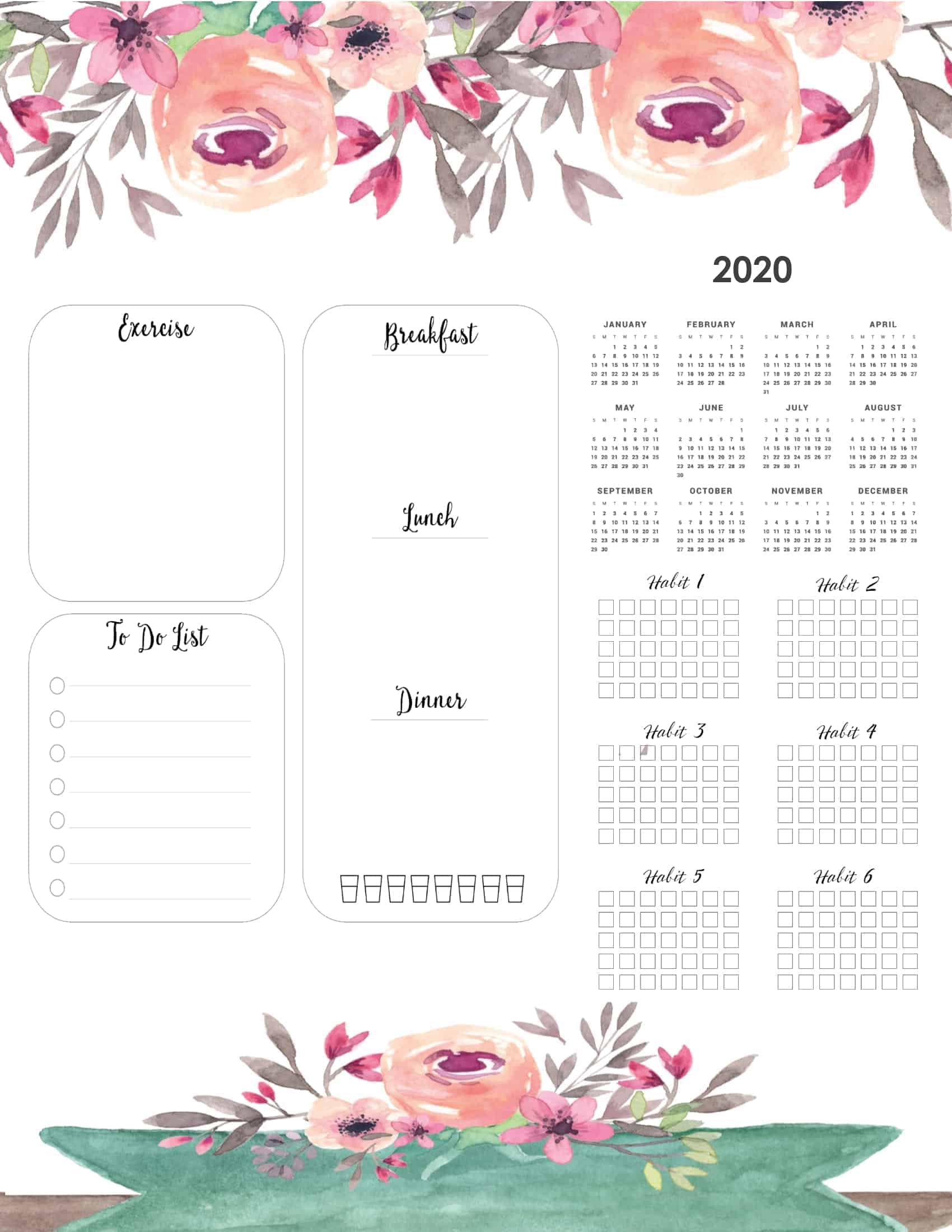 Year At A Glance Calendar Template  Nixtati.context.co intended for 2020 At A Glance Calendar Printable