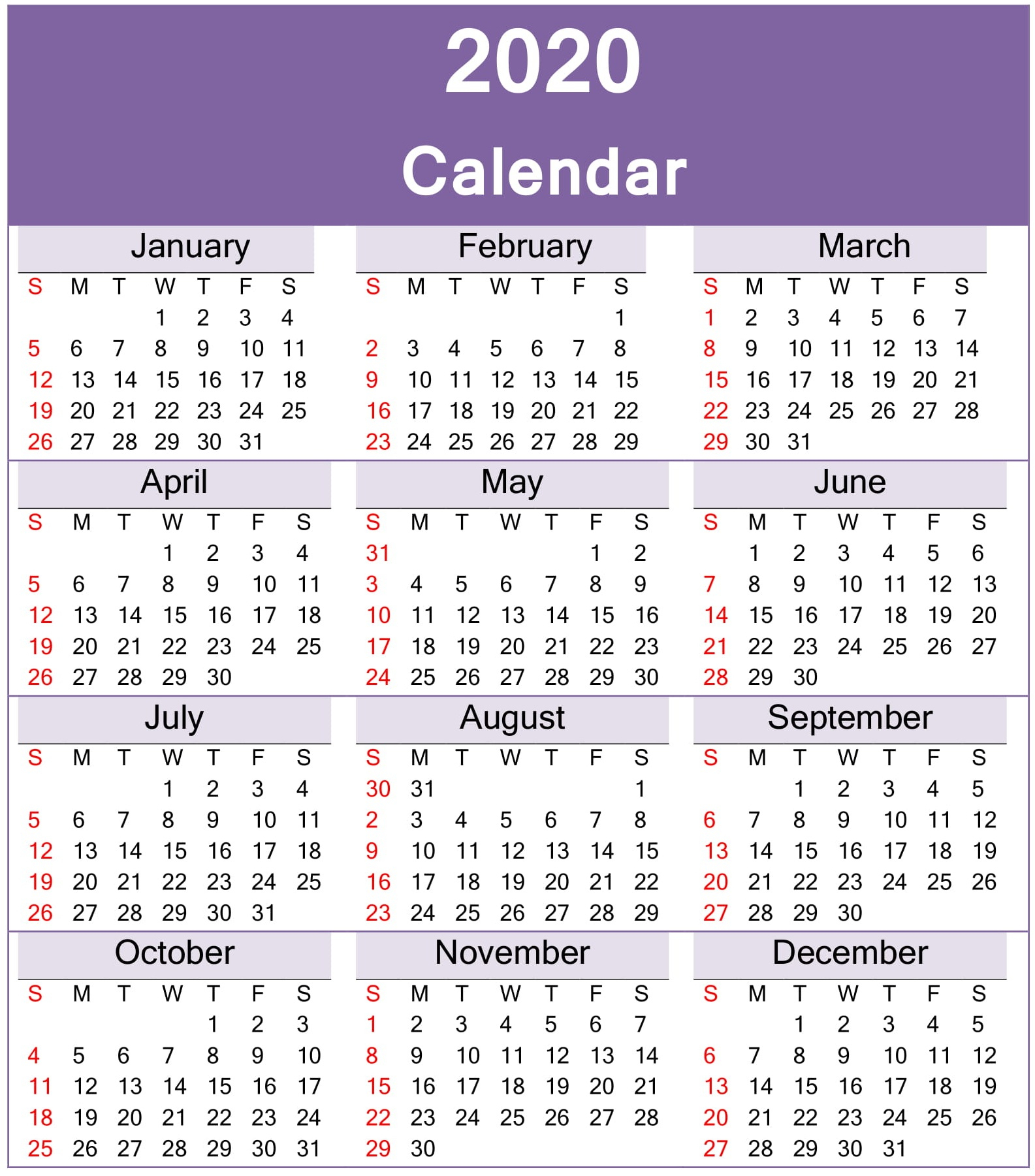 Yearly 2020 Calendar Excel Template  Latest Printable throughout Calendar Excel Template 2020