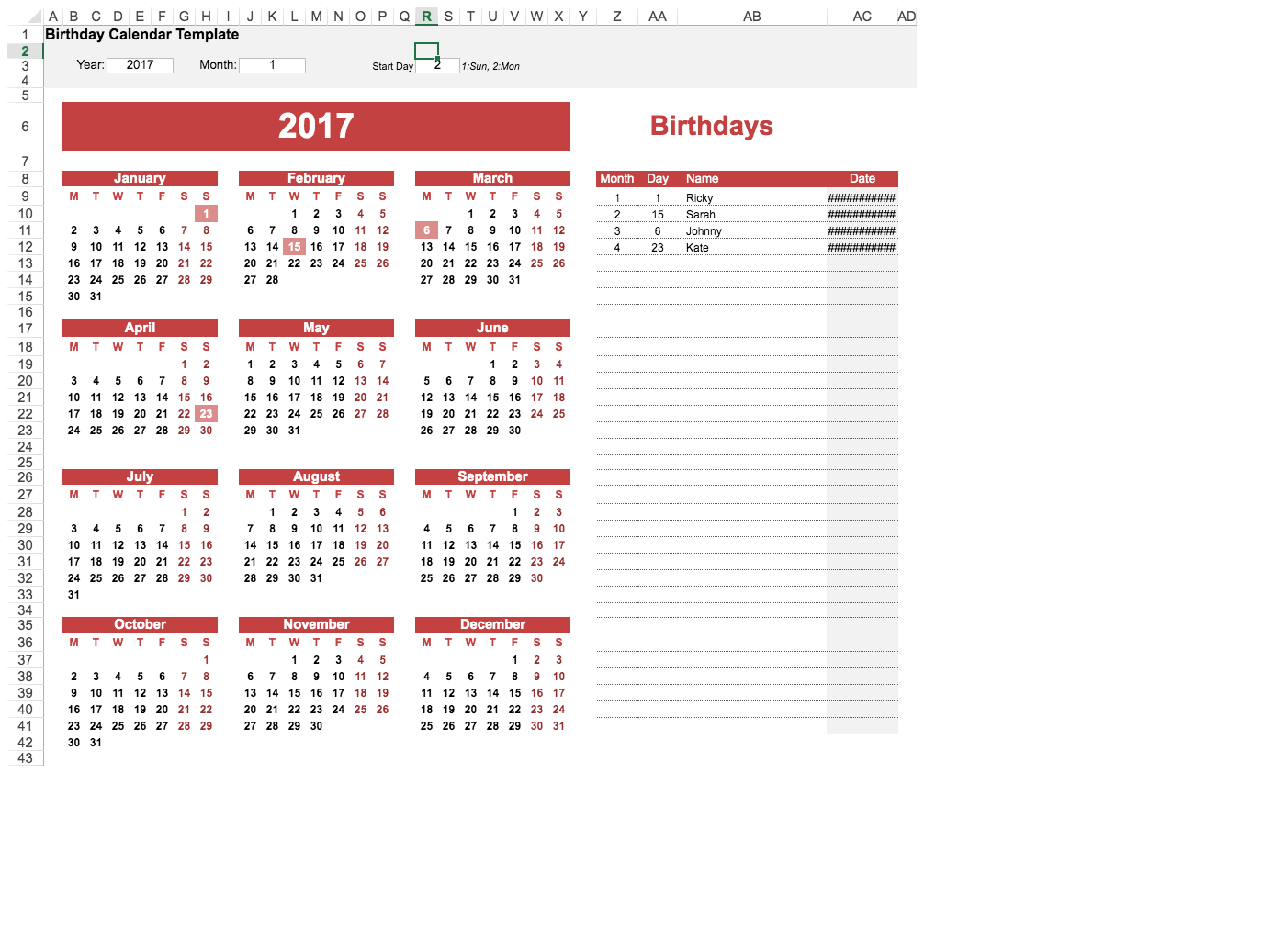 Yearly Birthday Calendar Template Template | Visual Paradigm for Yearly Birthday Calendar Template