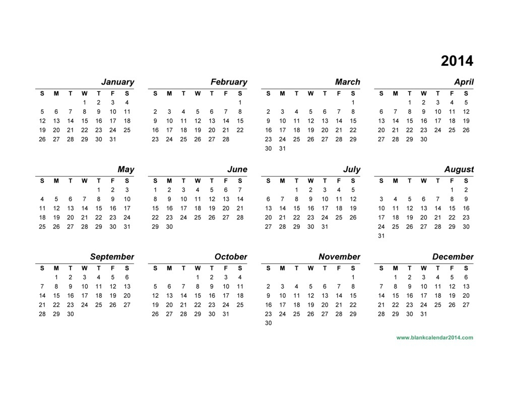 Yearly Calendar 2014 | Templates Free Printable inside Calendar 2014 Printable
