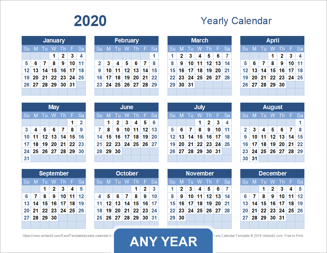 Yearly Calendar Template For 2020 And Beyond pertaining to Vertex42 Monthly Calendar