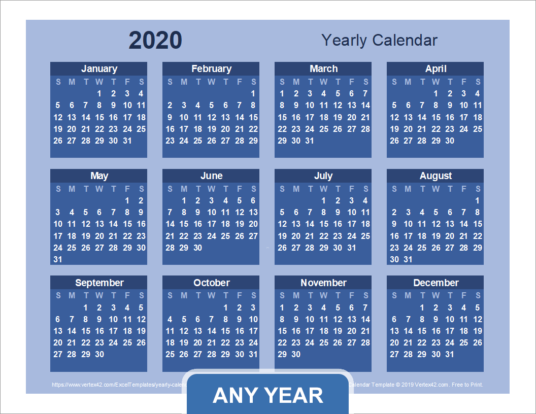 Yearly Calendar Template For 2020 And Beyond with Vertex Calendar 2020