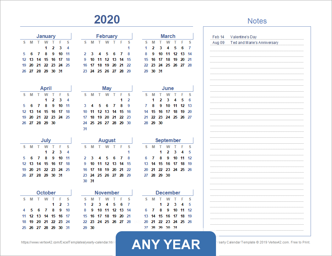 Yearly Calendar Template For 2020 And Beyond within Vertex42 Monthly Calendar