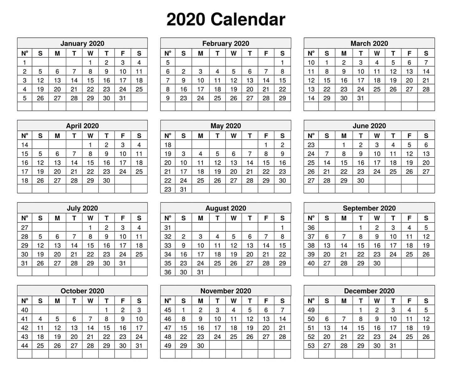 Yearly Calendar Template With Notes 2020  2019 Calendars pertaining to Printable 2020 Calander