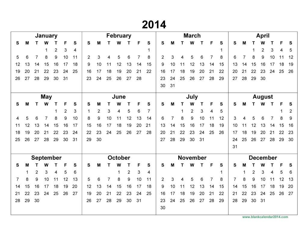 Yearly Printable Calander | Yearly Calendar 2014 – 2014 in Calendar 2014 Printable