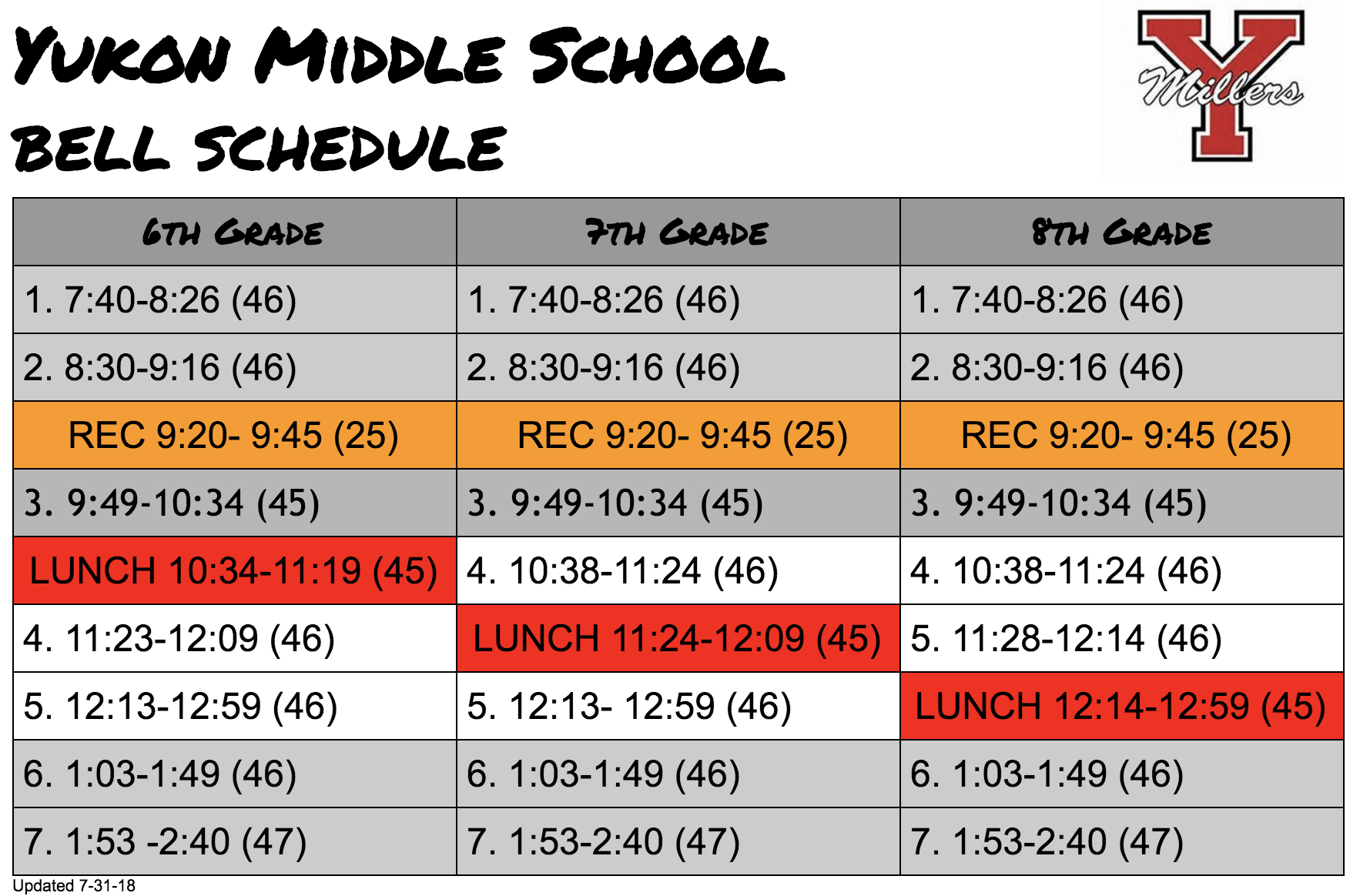 Yms Students  Yukon Middle School within Nicoma Park Middle School Calendar