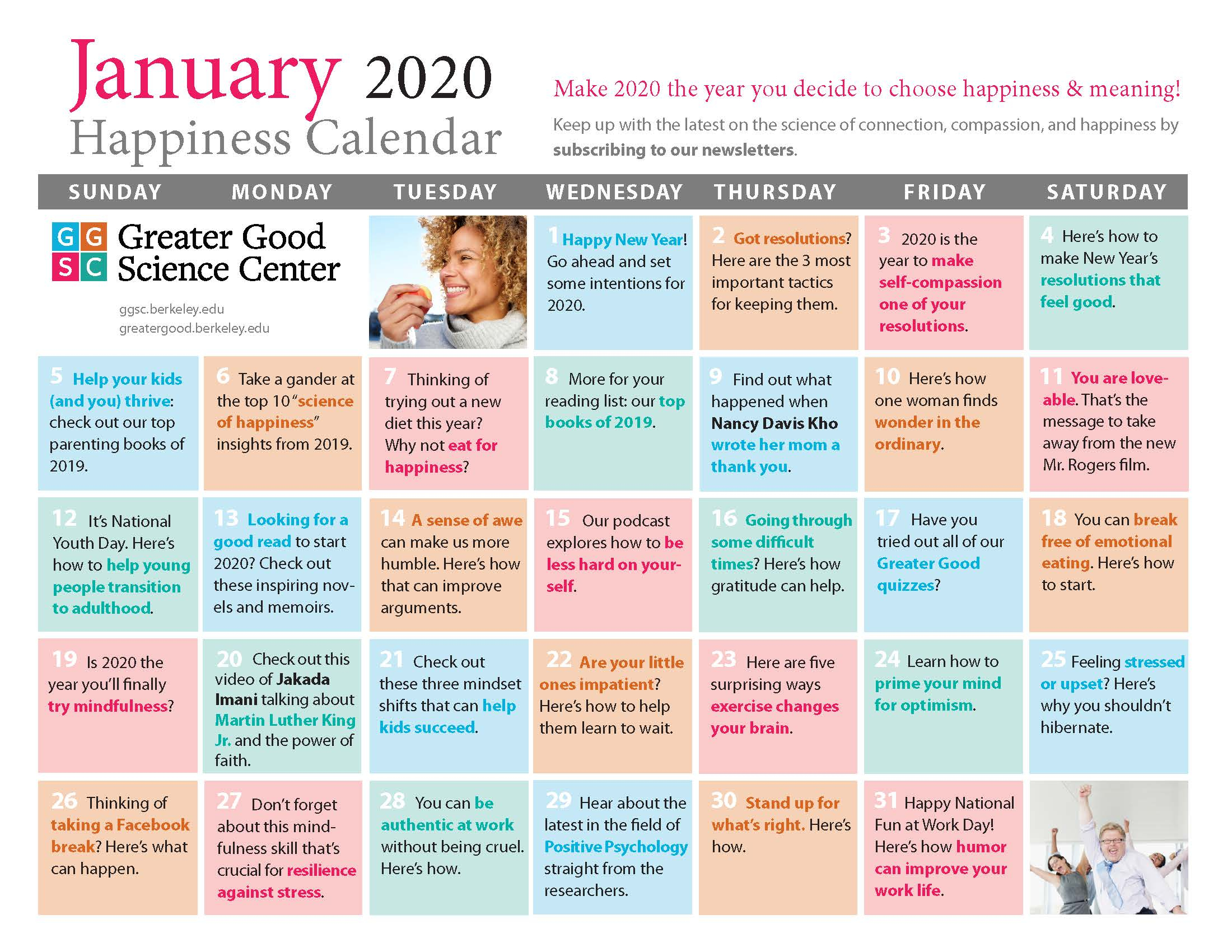 Your Happiness Calendar For January 2020 pertaining to Uc Berkeley Calendar 2020
