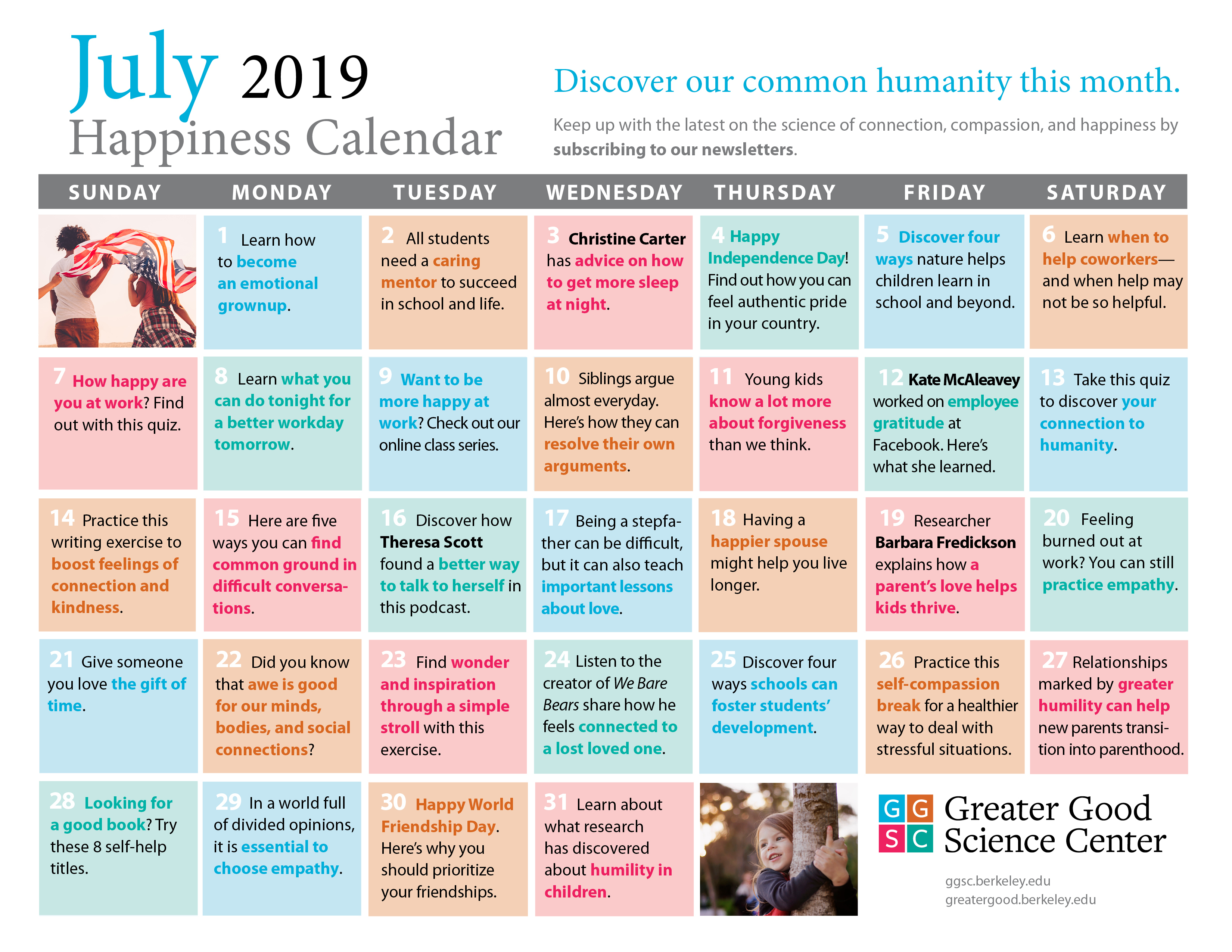 Your Happiness Calendar For July 2019 pertaining to Uc Berkeley 2020 Calendar