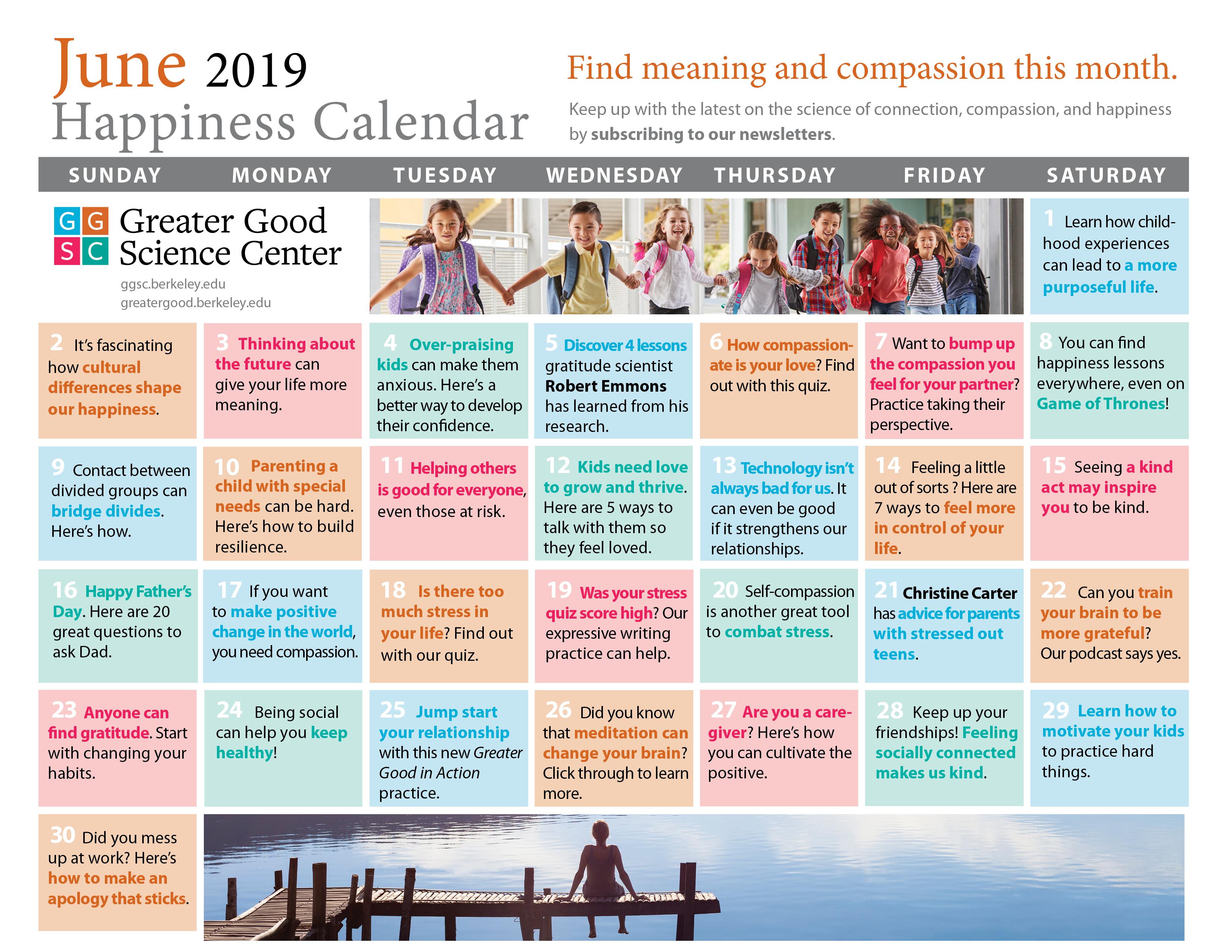 Your Happiness Calendar For June 2019 regarding Uc Berkeley 2020 Calendar