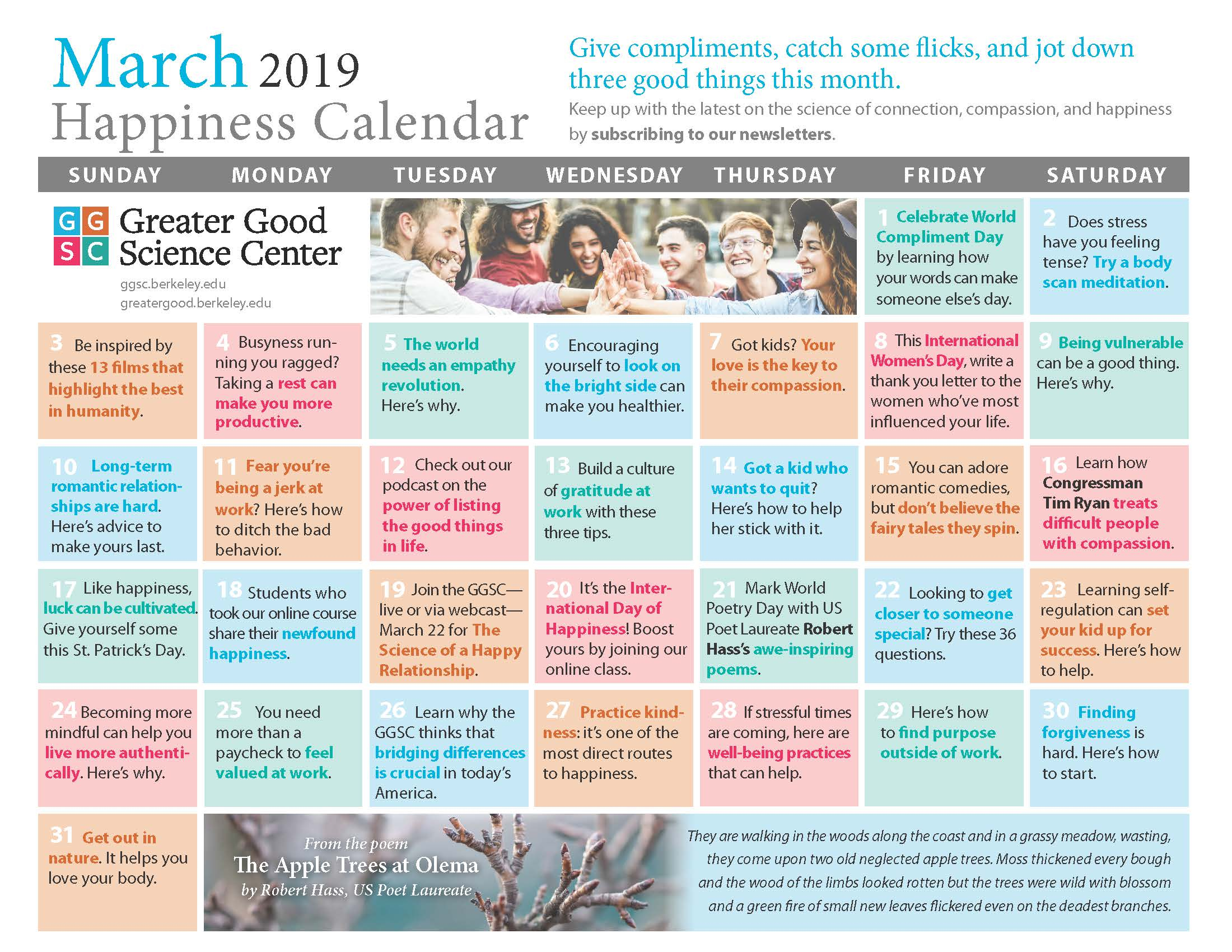 Your Happiness Calendar For March 2019 intended for Uc Berkeley 2020 Calendar