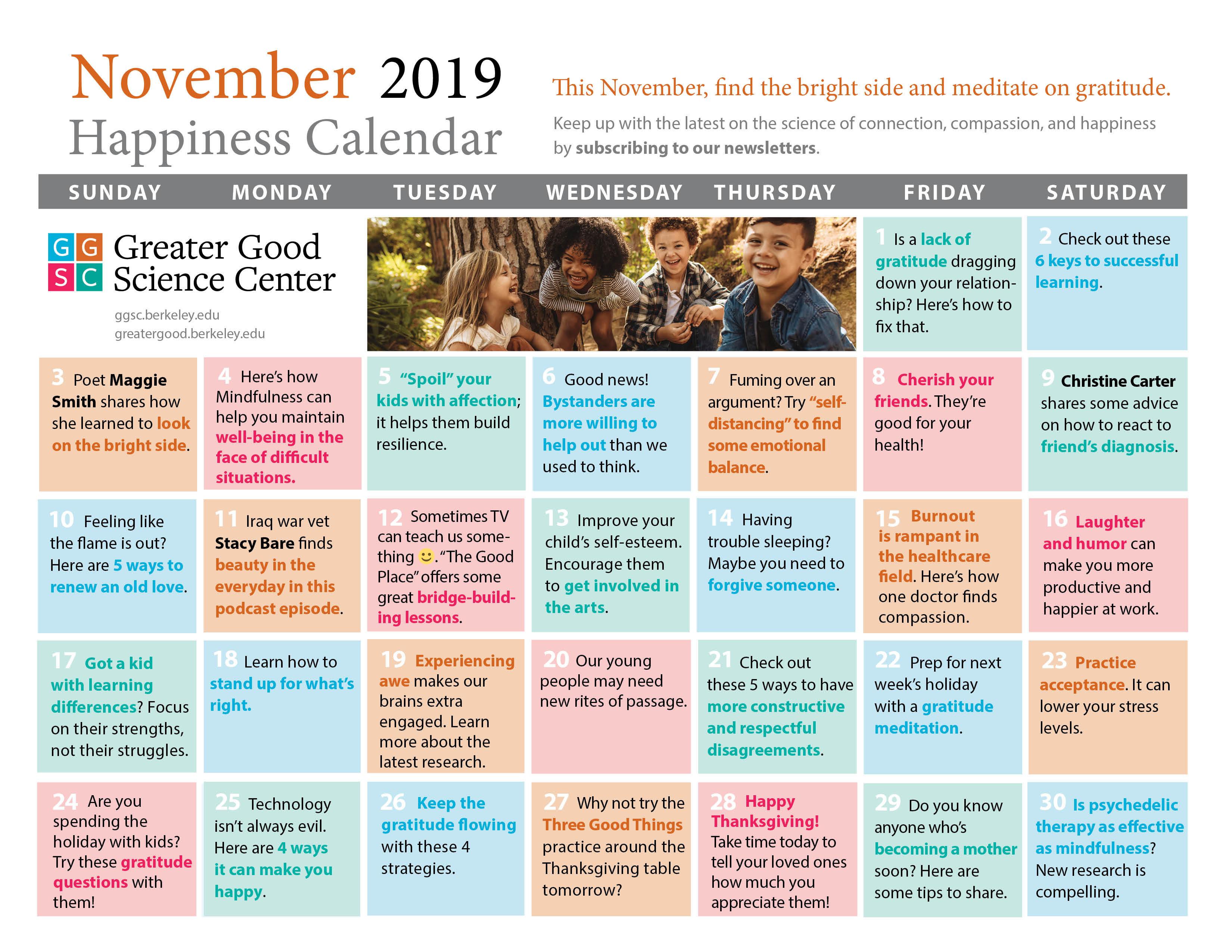 Your Happiness Calendar For November 2019 pertaining to Uc Berkeley 2020 Calendar