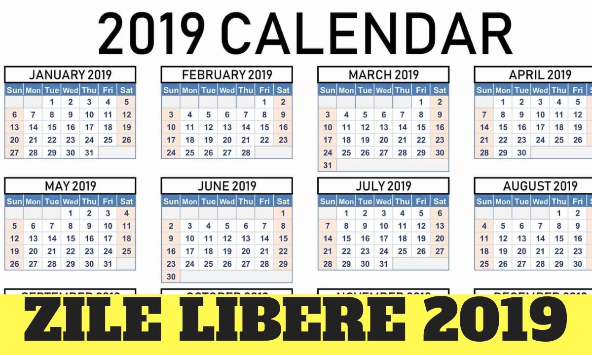 Zile Libere 2019. Când Nu Se Lucrează (Calendar) regarding Calendar 2020 Cu Zile Lucratoare