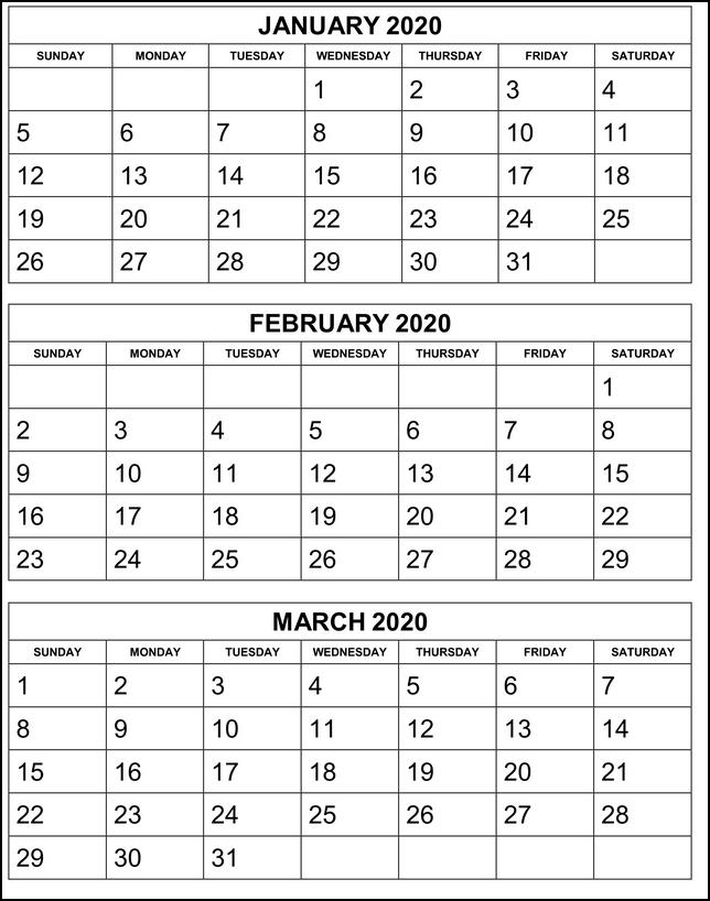 2020 Printable Three Month Calendar January February March
