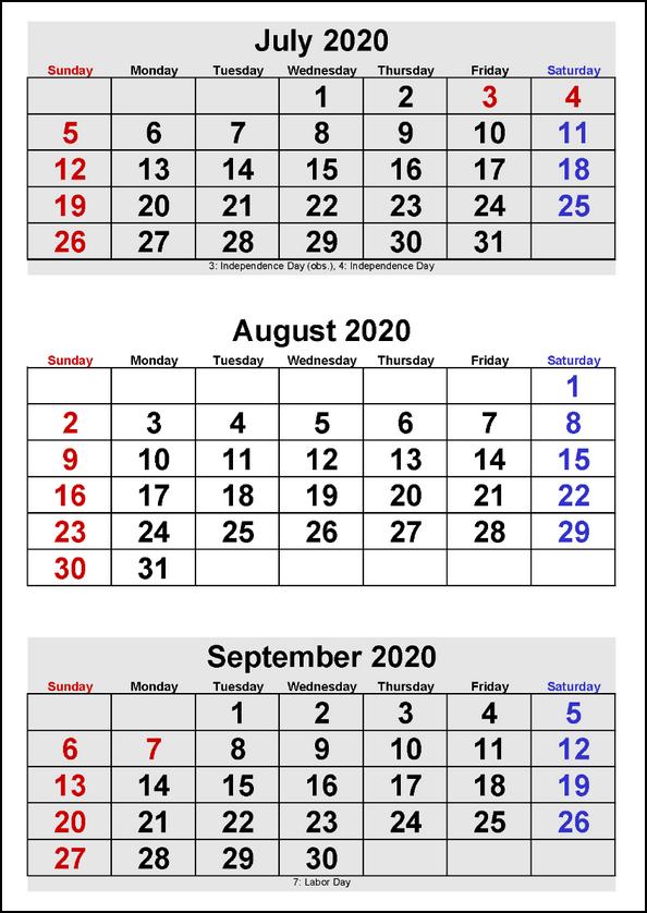 2020 Printable Three Month Calendar July August September