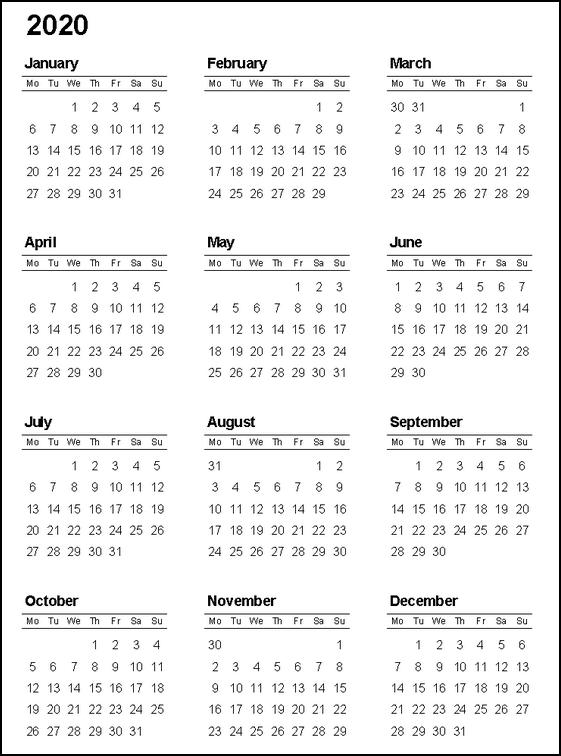 2020 Full Calendar Printable Free