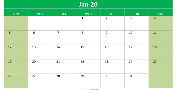 Excel calendar Template 2020 Editable January
