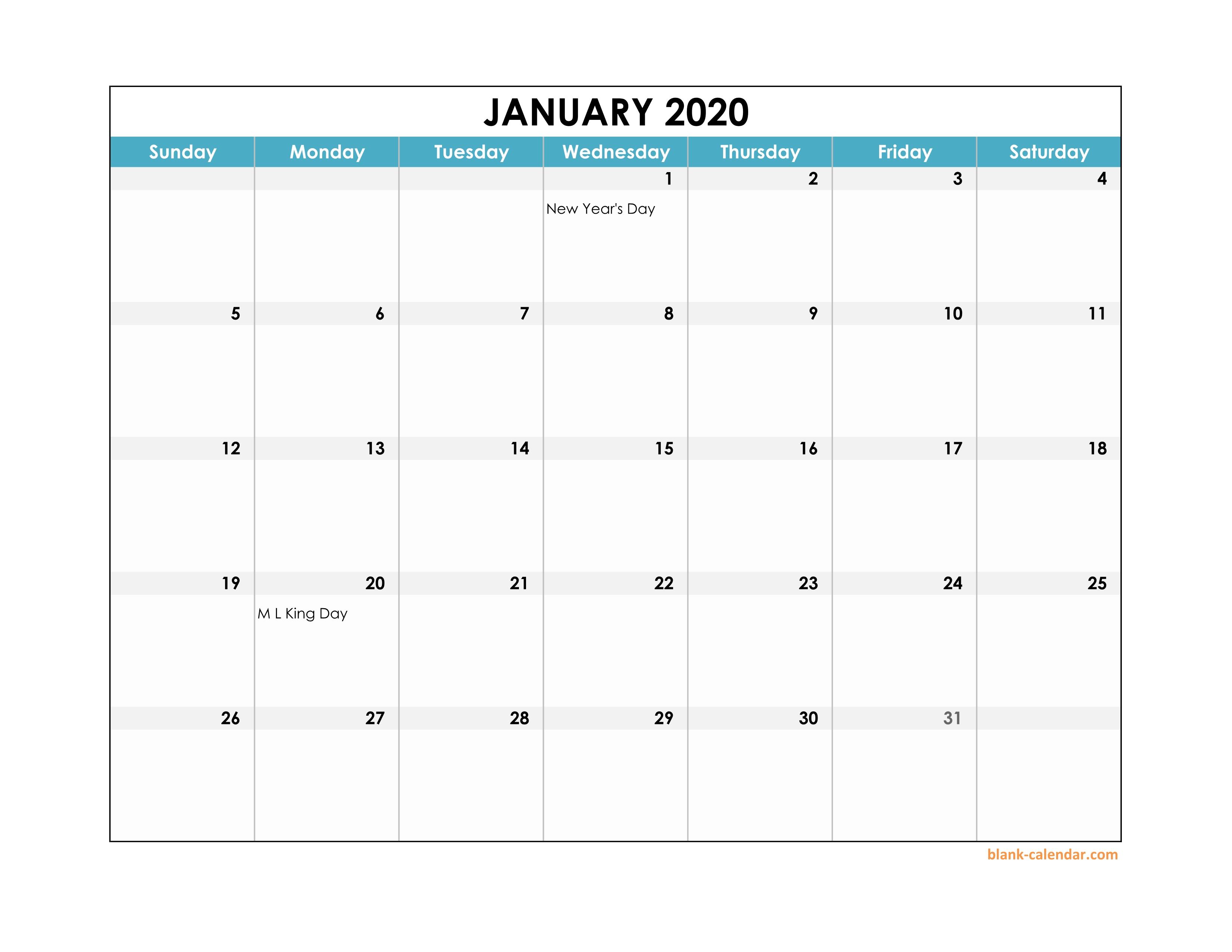 Excel calendar Template 2020 Editable Landscape